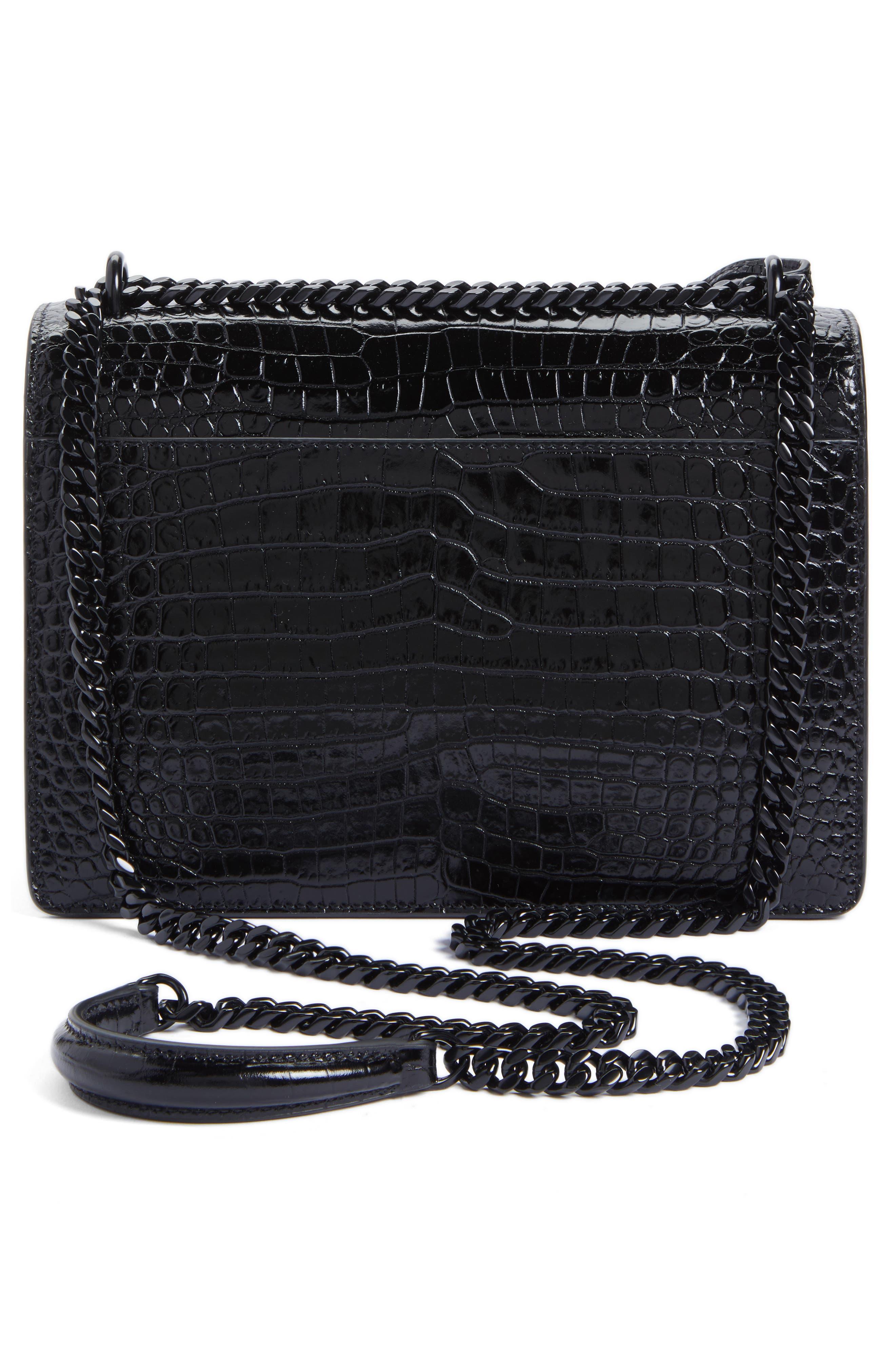 Medium Sunset Croc Embossed Leather Shoulder Bag,                             Alternate thumbnail 3, color,                             001
