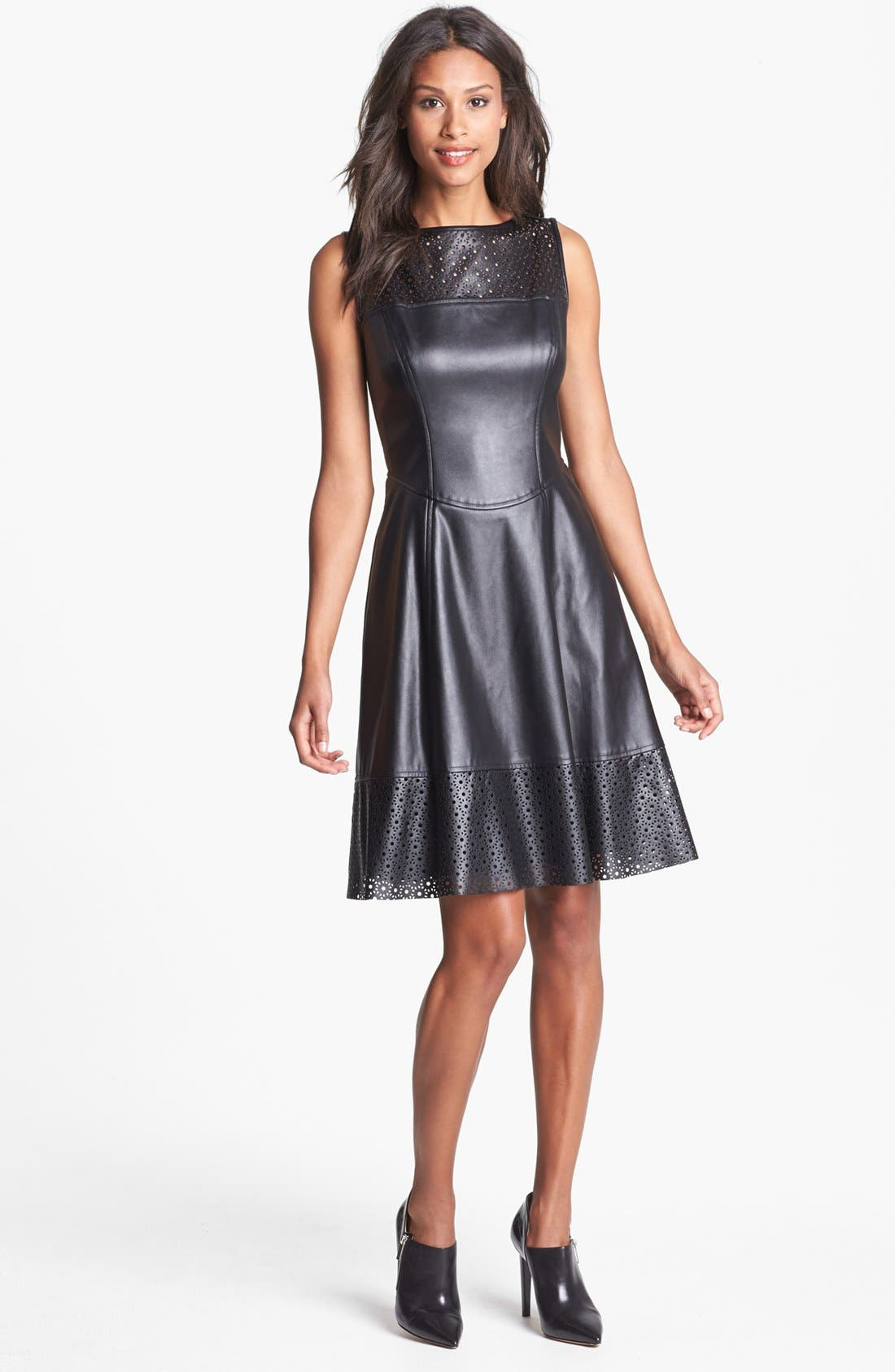Perforated Faux Leather Fit & Flare Dress,                             Main thumbnail 1, color,                             001