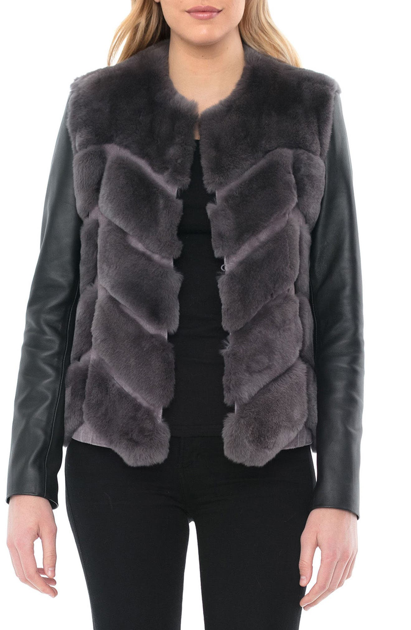 Genuine Rabbit Fur & Leather Jacket,                             Main thumbnail 1, color,                             028
