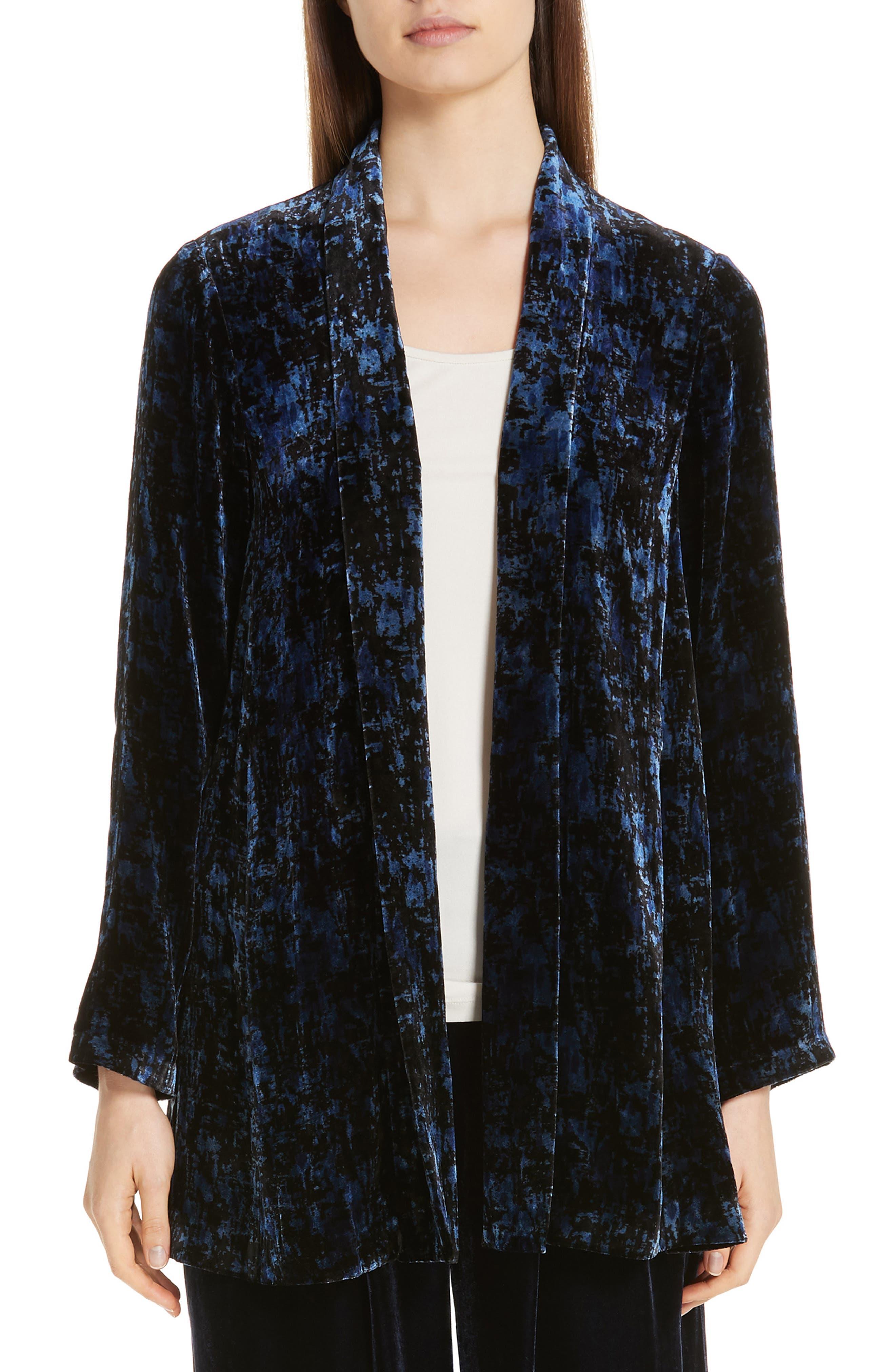 Shawl Collar Velvet Jacket,                             Main thumbnail 1, color,                             MIDNIGHT