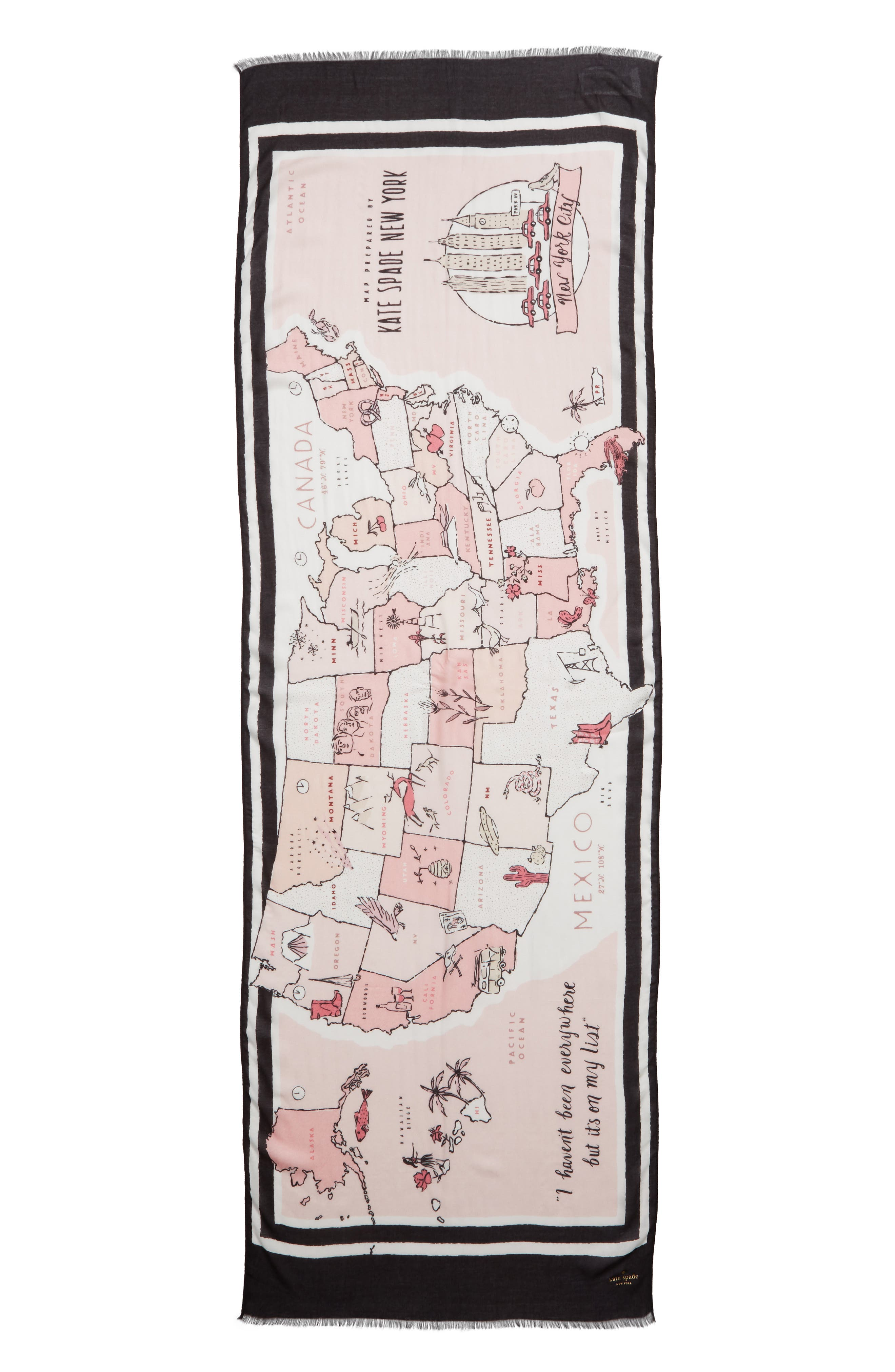 usa map scarf,                             Alternate thumbnail 3, color,                             ROSE DEW