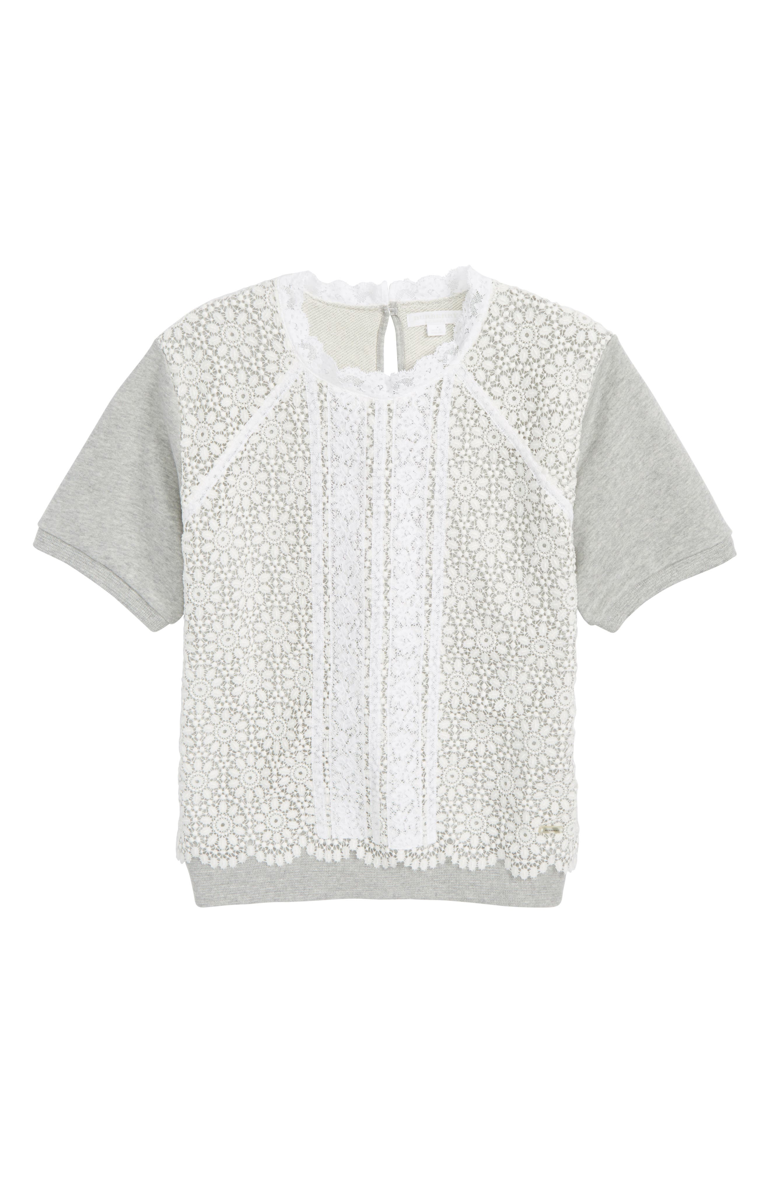 Hettie Lace Short Sleeve Sweater,                             Main thumbnail 1, color,