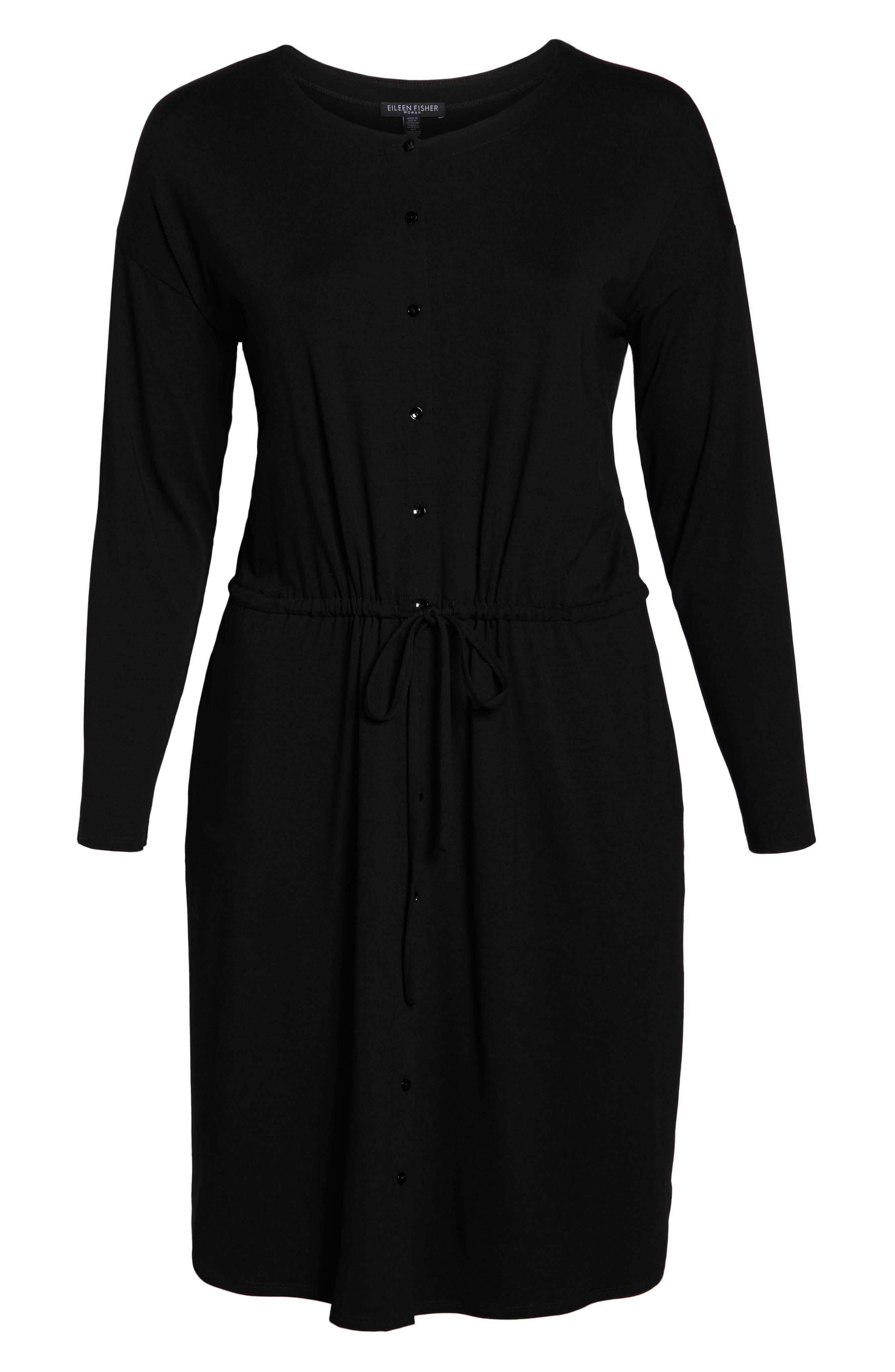 Drawstring Waist Dress,                             Alternate thumbnail 10, color,                             BLACK