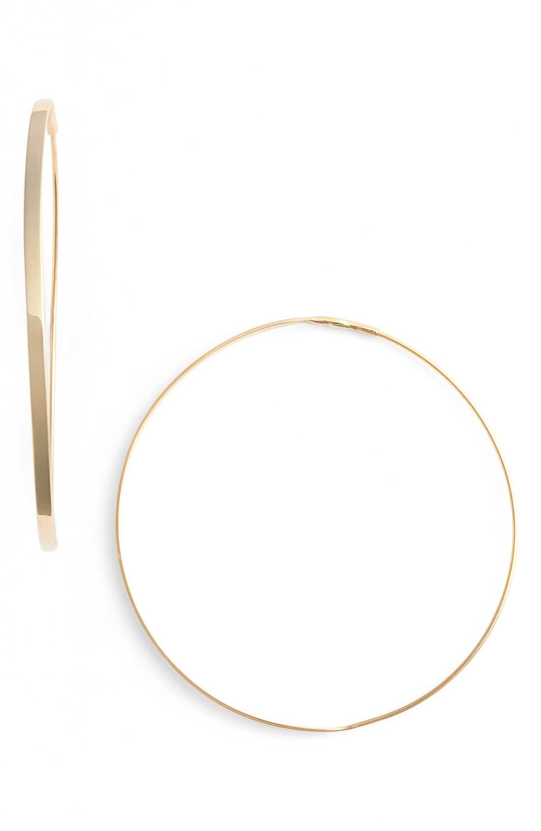 'Flat Magic' Medium Hoop Earrings,                         Main,                         color, YELLOW GOLD