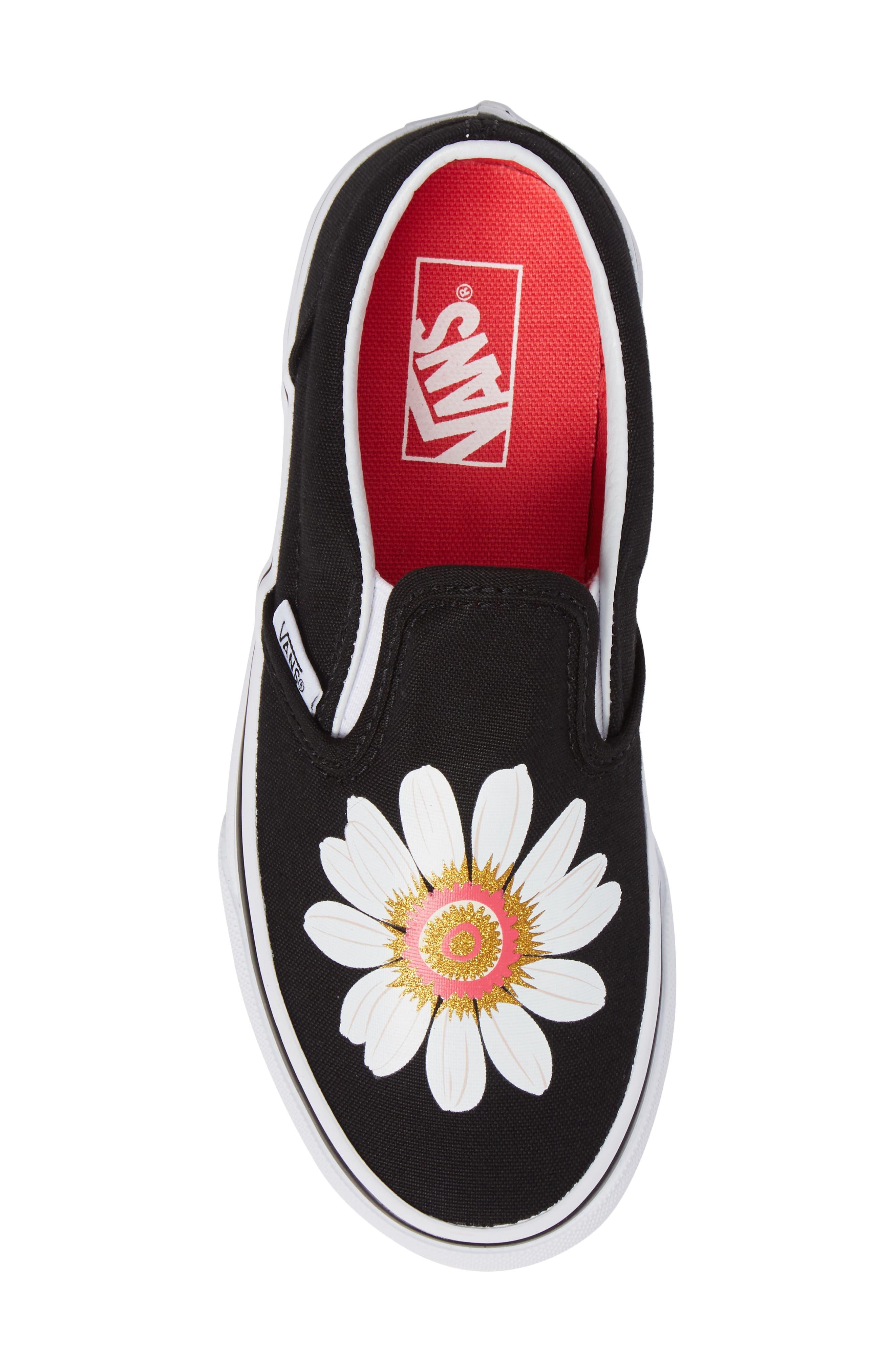 Classic Flower Slip-On Sneaker,                             Alternate thumbnail 5, color,                             001