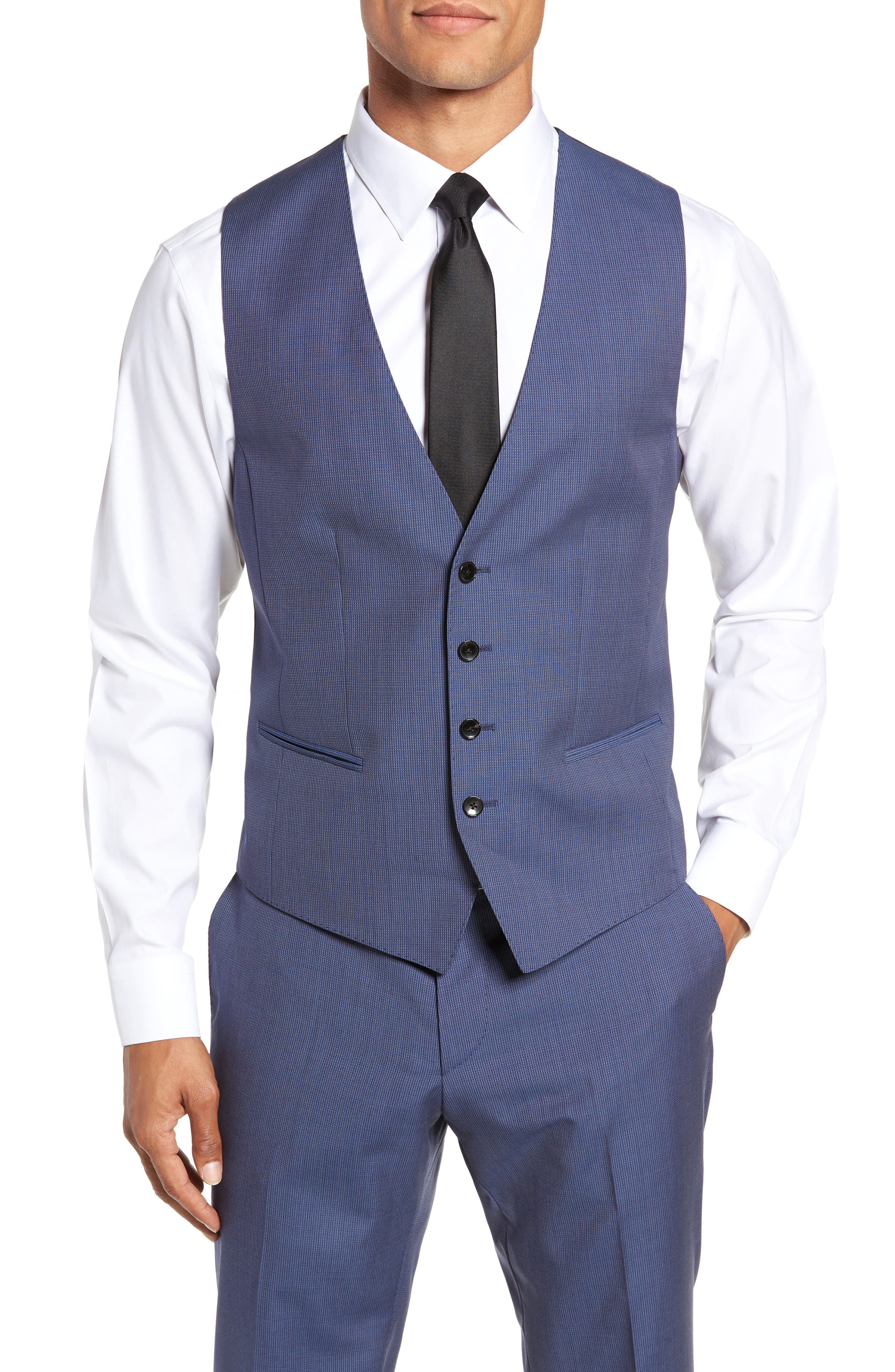 Huge/Genius Trim Fit Solid Three Piece Wool Suit, Main, color, BLUE
