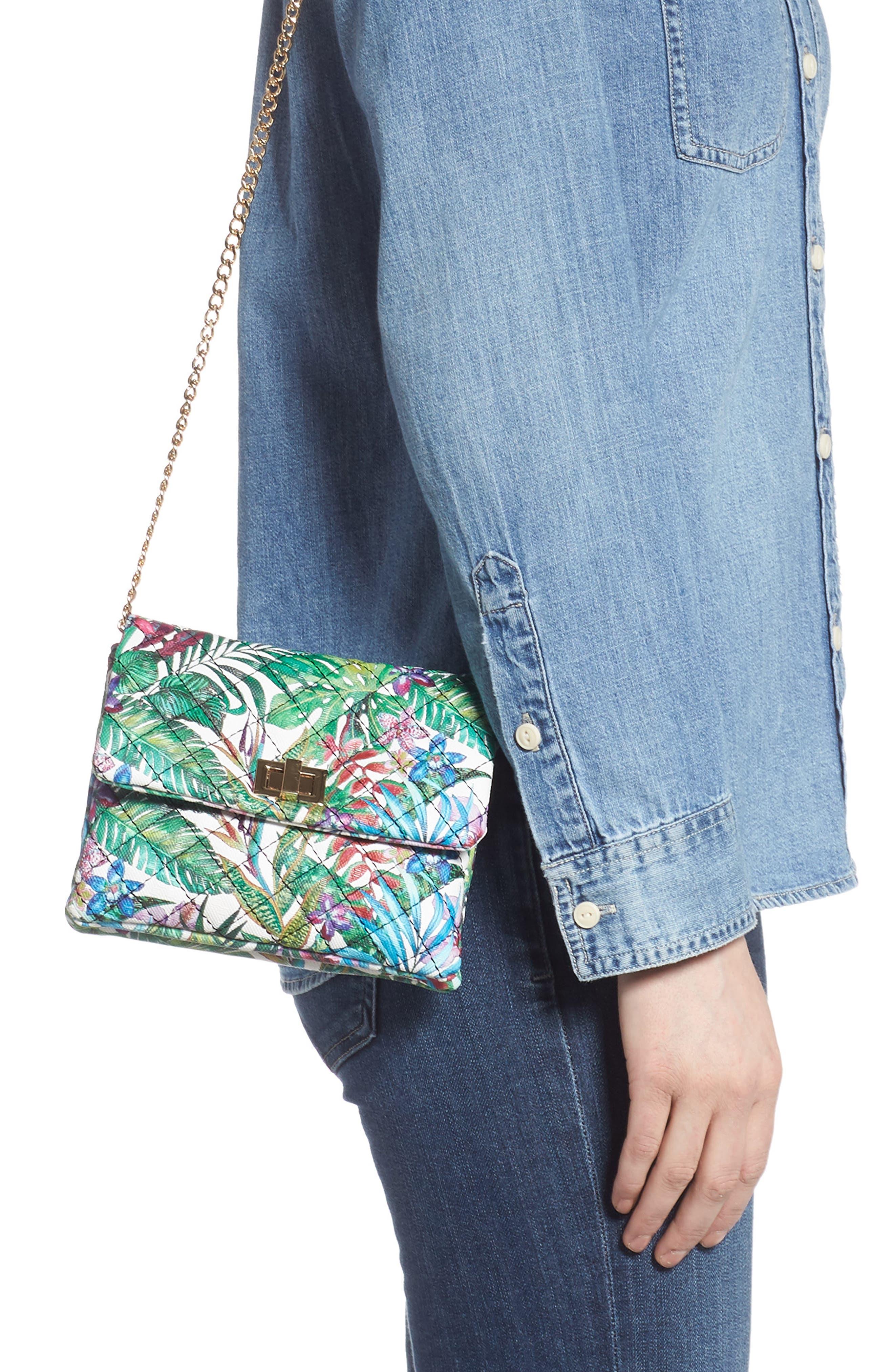 MALI + LILI,                             Quilted Vegan Leather Belt Bag,                             Alternate thumbnail 4, color,                             WHITE FLORAL
