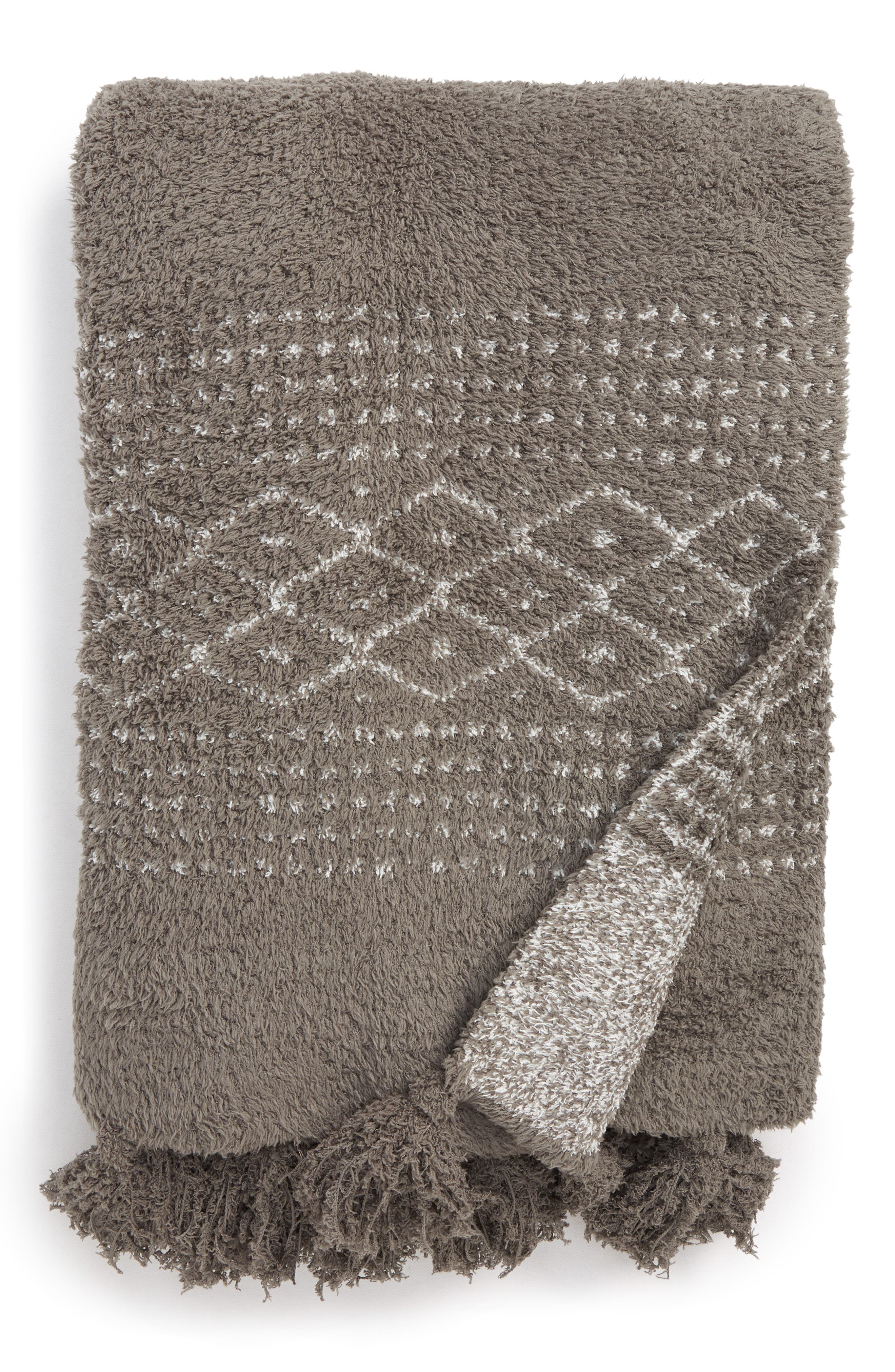 CozyChic<sup>®</sup> Luxe Casa Throw Blanket,                         Main,                         color, CHARCOAL/ WHITE