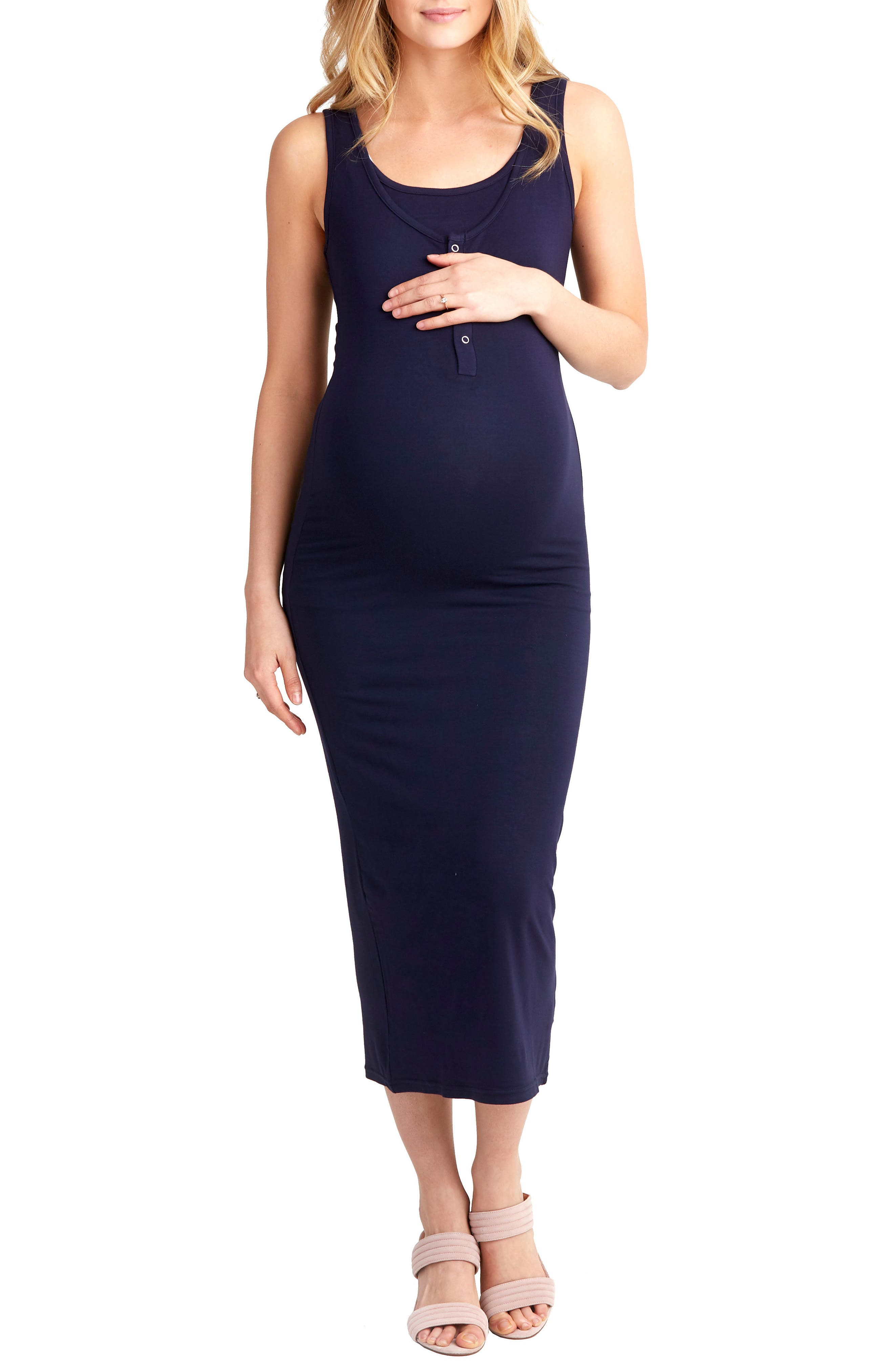 Nom Maternity Snap Placket Maternity/nursing Tank Dress, Blue