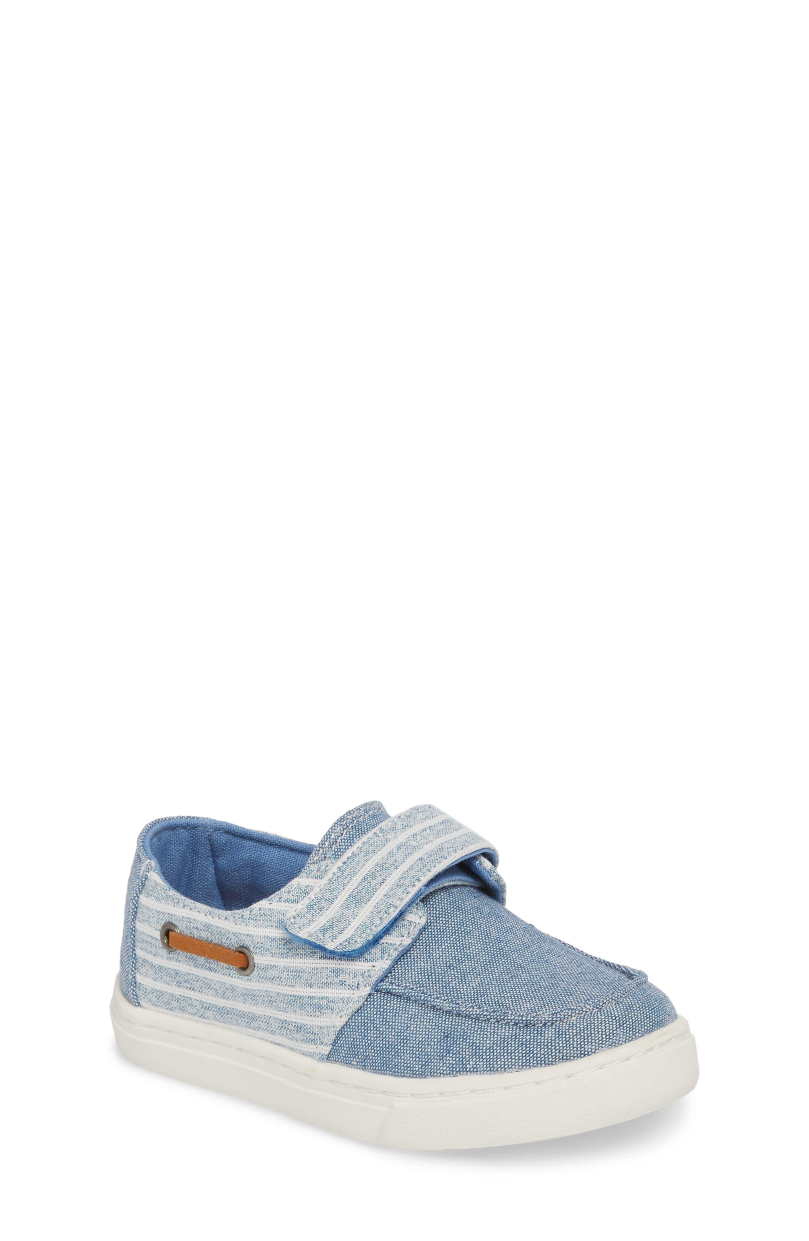Culver Boat Shoe,                         Main,                         color, BLUE CHAMBRAY/ STRIPE