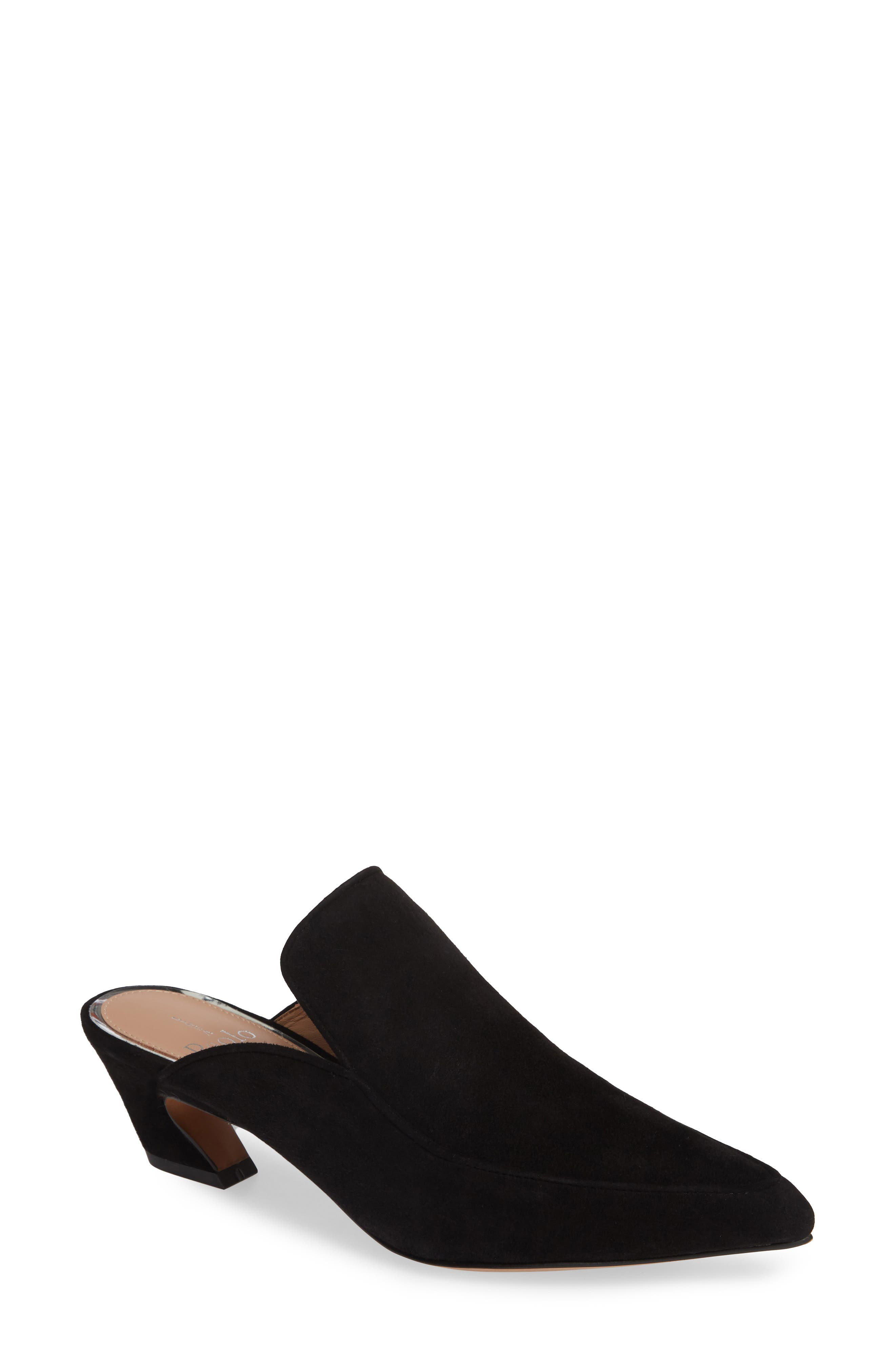 Gina Pointy Toe Mule,                             Main thumbnail 1, color,                             BLACK SUEDE