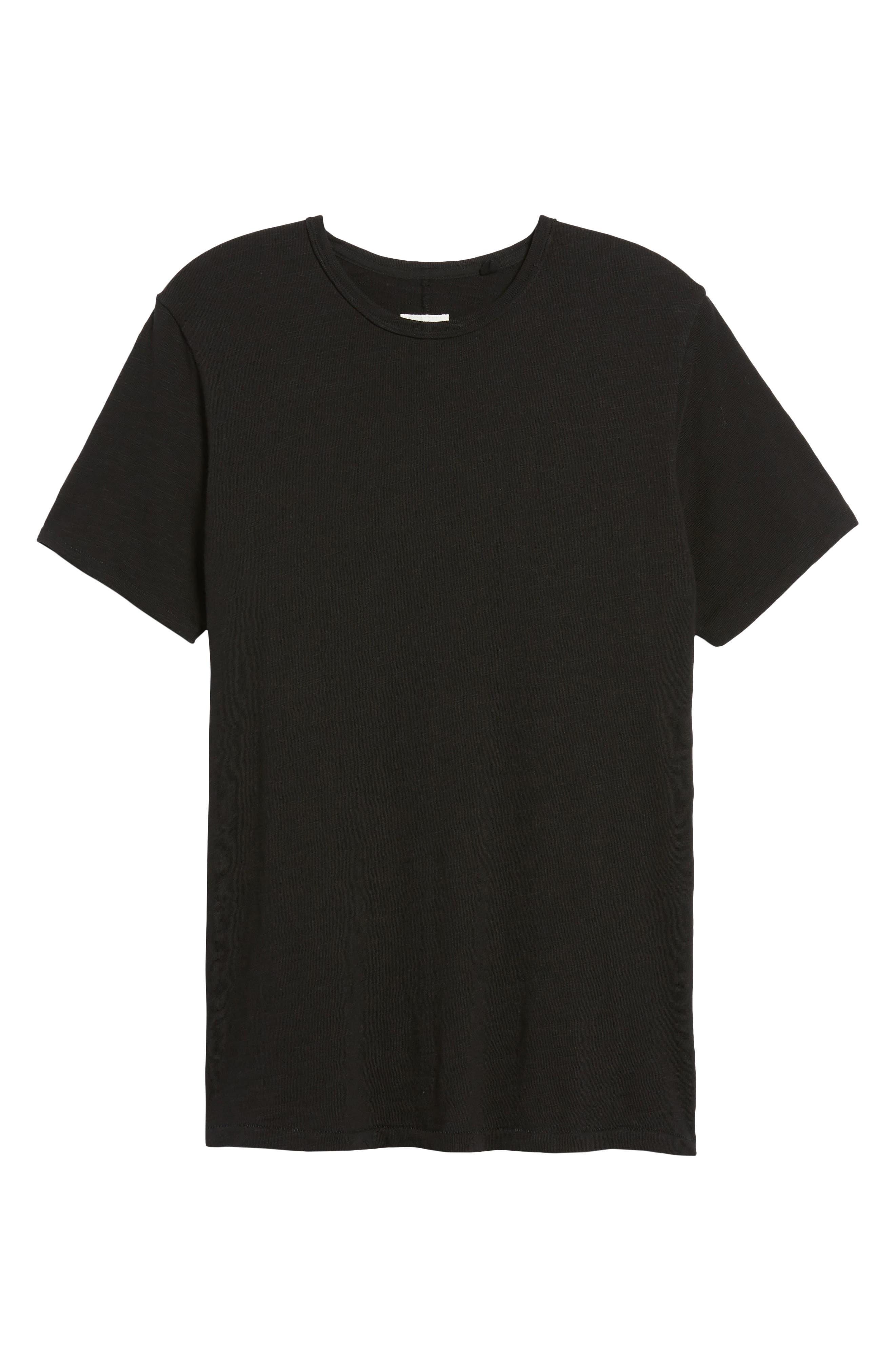 Classic Crewneck Cotton T-Shirt,                             Alternate thumbnail 6, color,                             JET BLACK