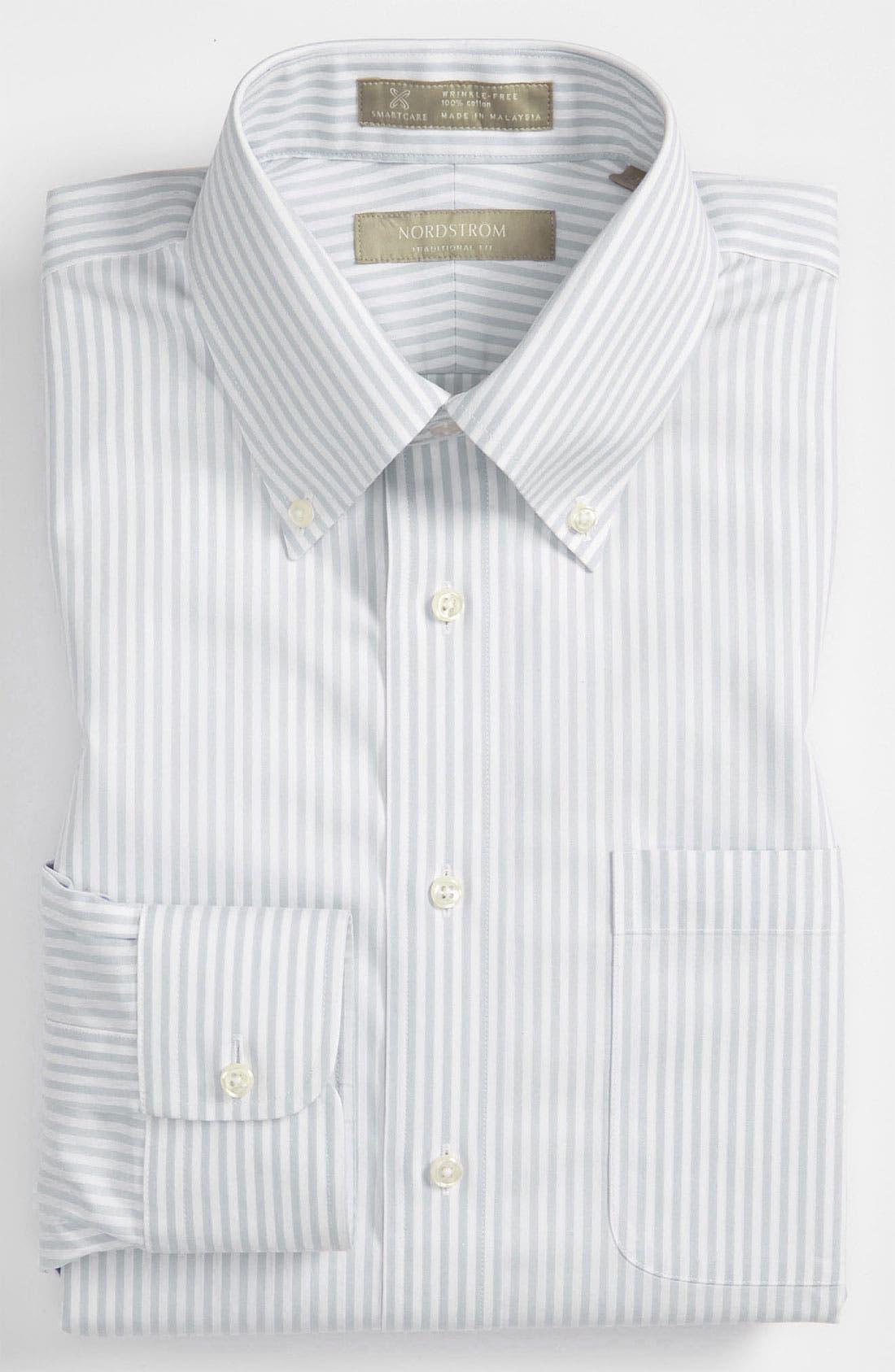 NORDSTROM MEN'S SHOP,                             Smartcare<sup>™</sup> Traditional Fit Stripe Dress Shirt,                             Main thumbnail 1, color,                             020