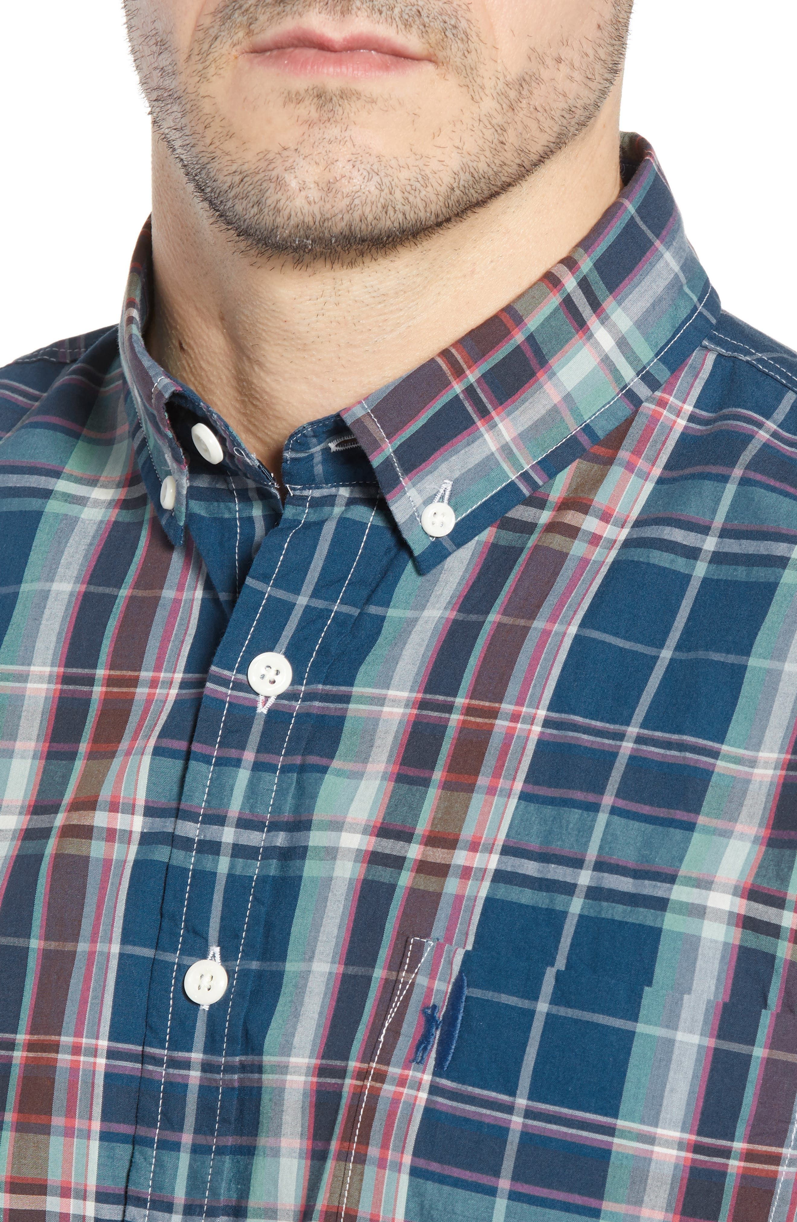 Exum Classic Fit Plaid Sport Shirt,                             Alternate thumbnail 2, color,                             LAKE