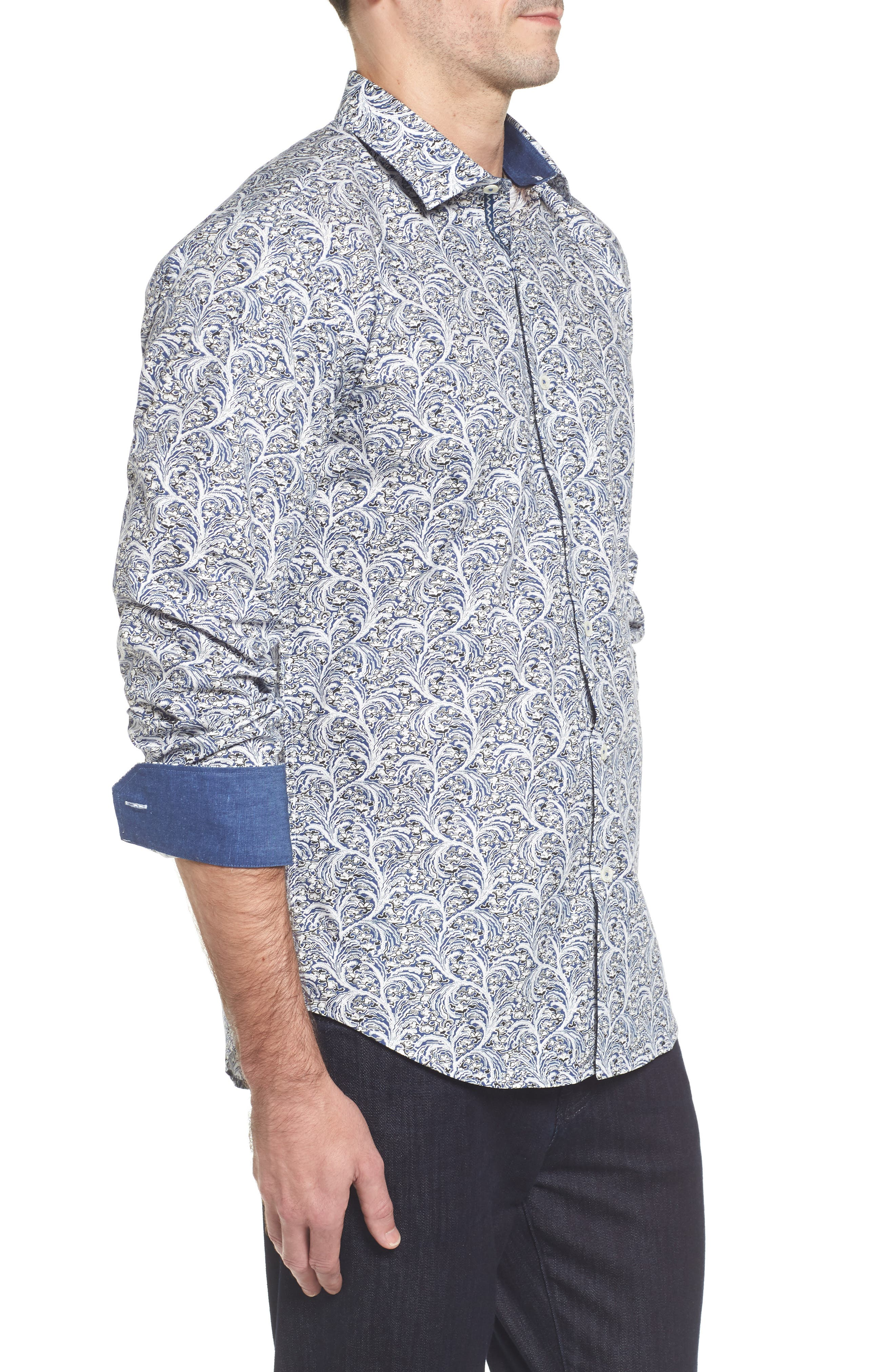 Slim Fit Print Sport Shirt,                             Alternate thumbnail 3, color,                             411