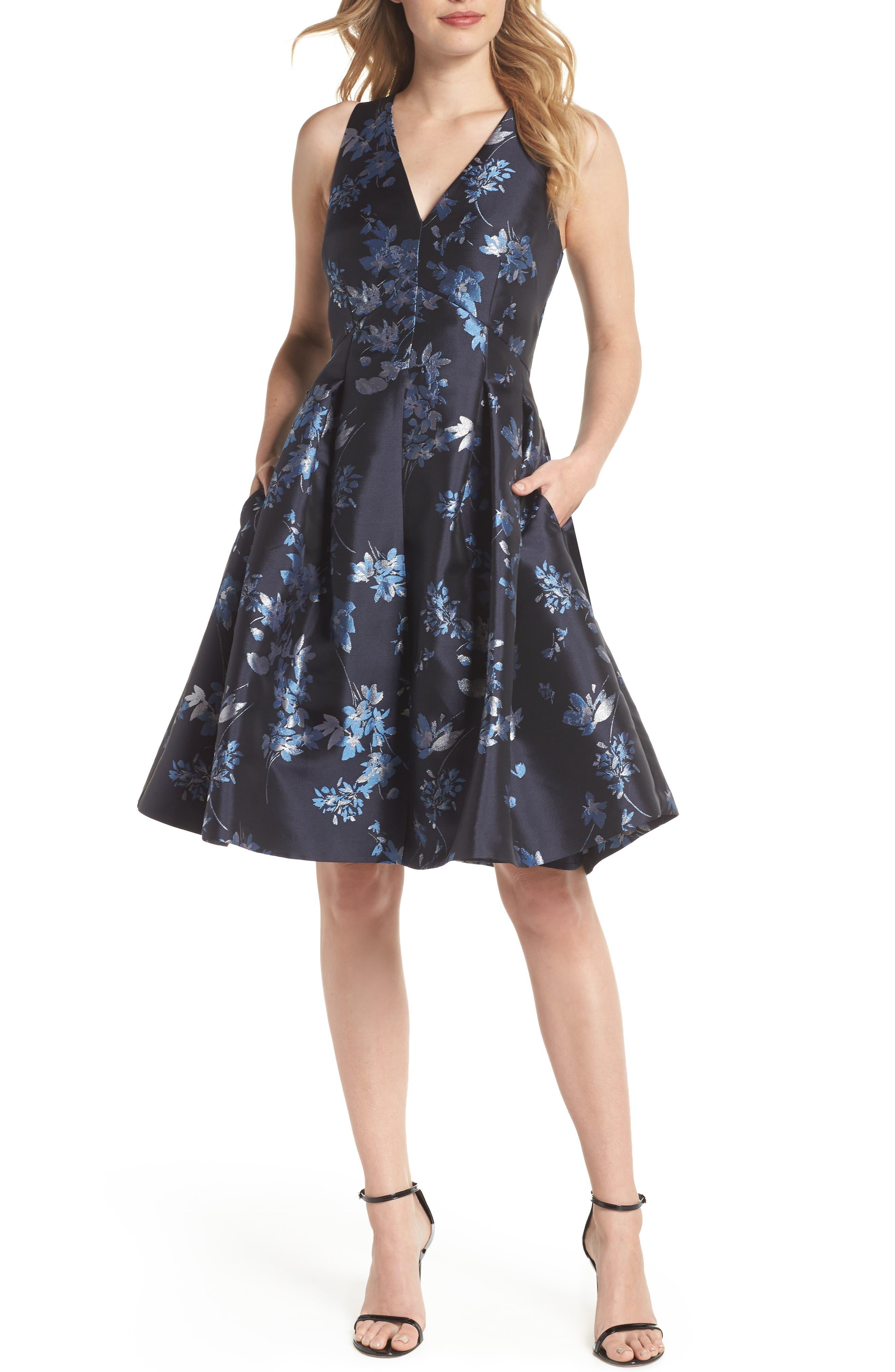 ELIZA J V-Neck Fit & Flare Cocktail Dress, Main, color, 410