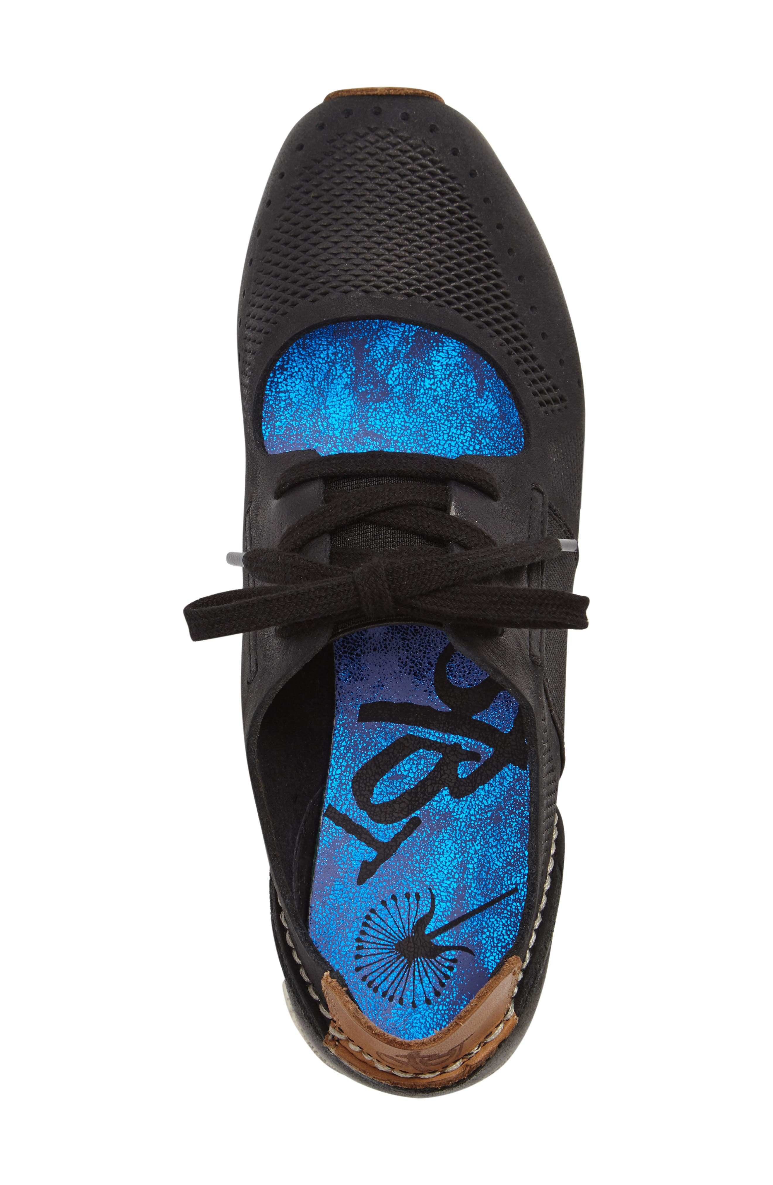 Star Dust Cutout Sneaker,                             Alternate thumbnail 3, color,                             BLACK LEATHER