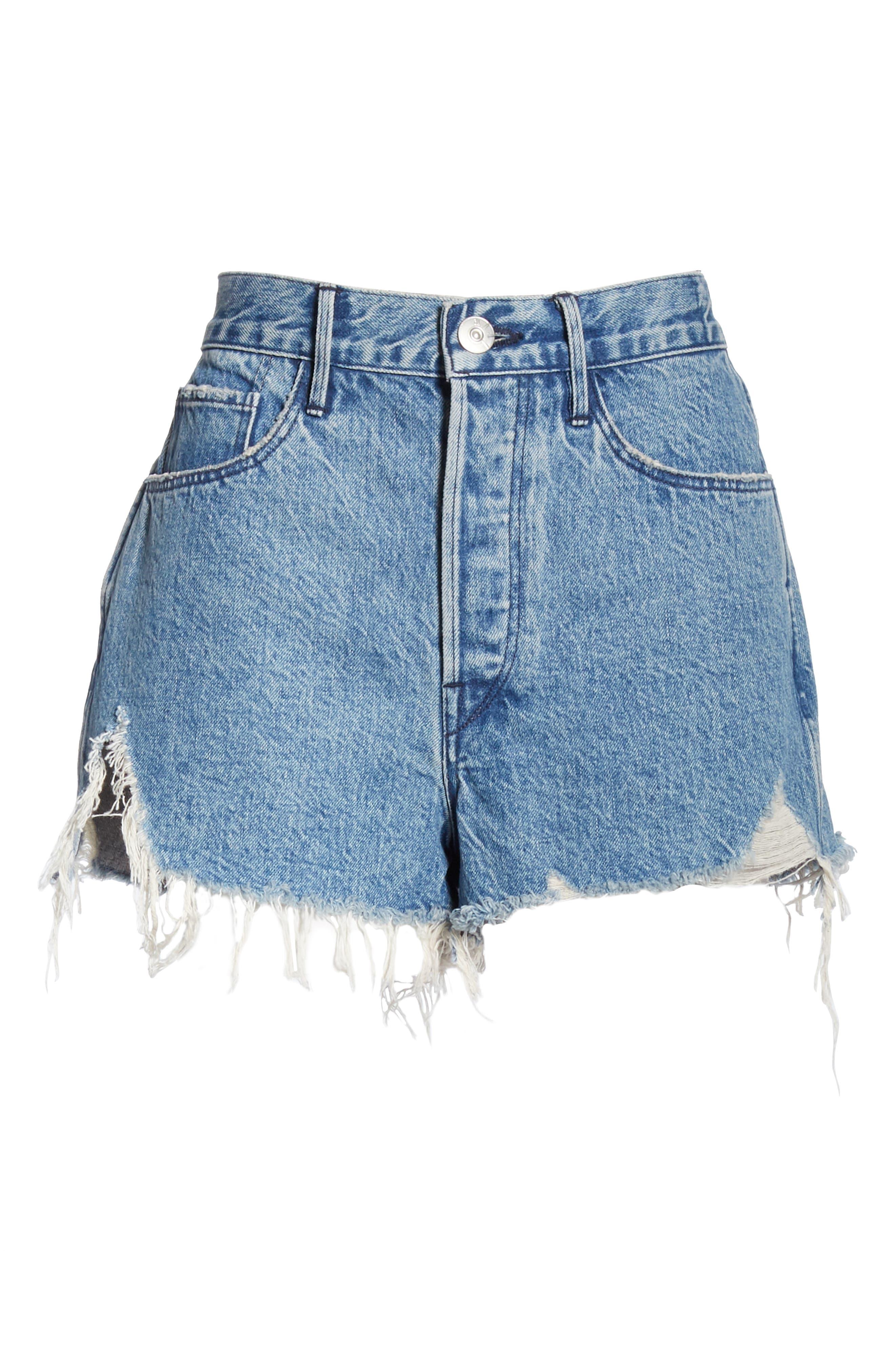 W4 Carter Ripped High Waist Denim Shorts,                             Alternate thumbnail 6, color,                             421