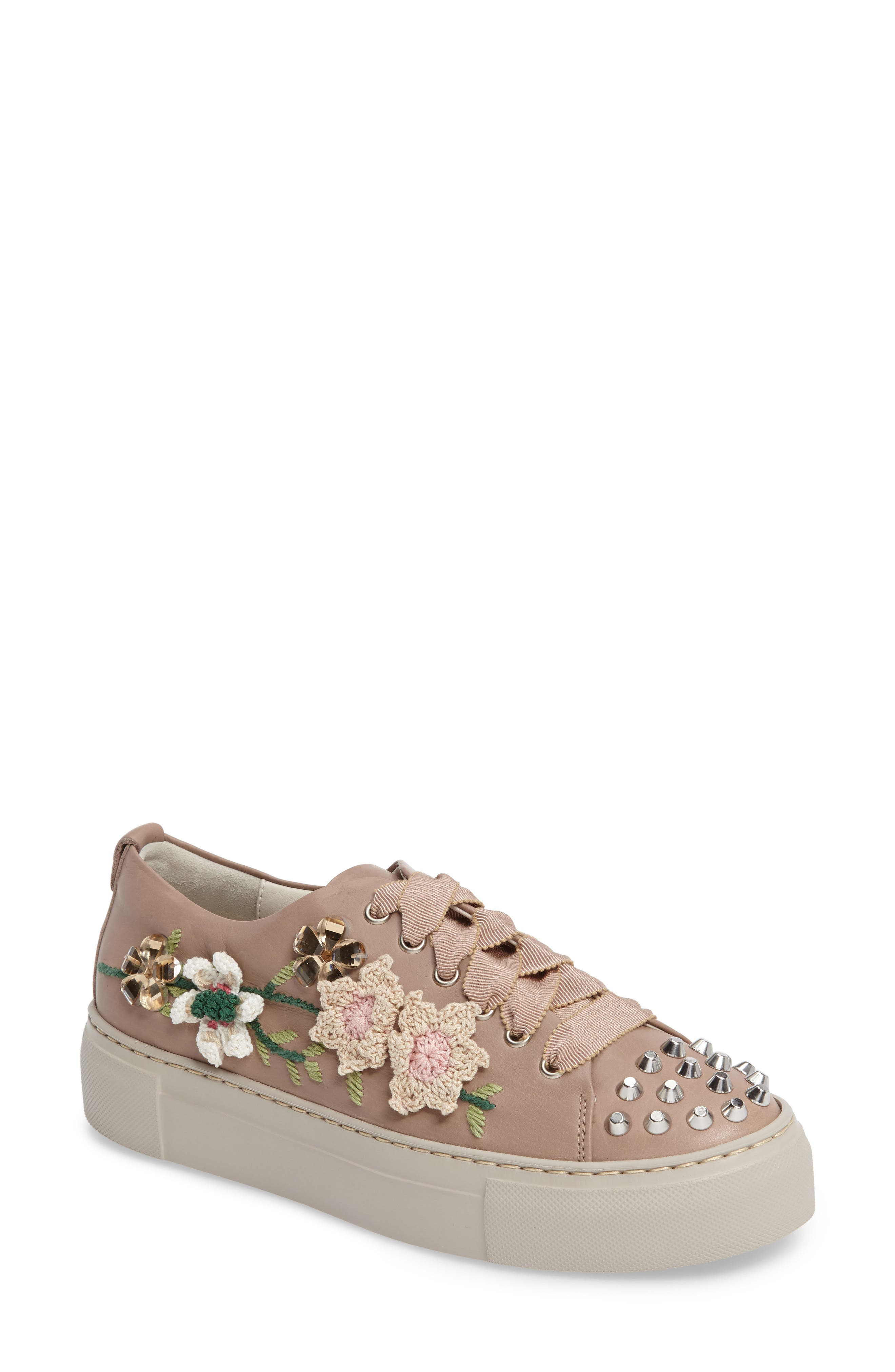 Flower Embellished Sneaker,                             Main thumbnail 1, color,                             260