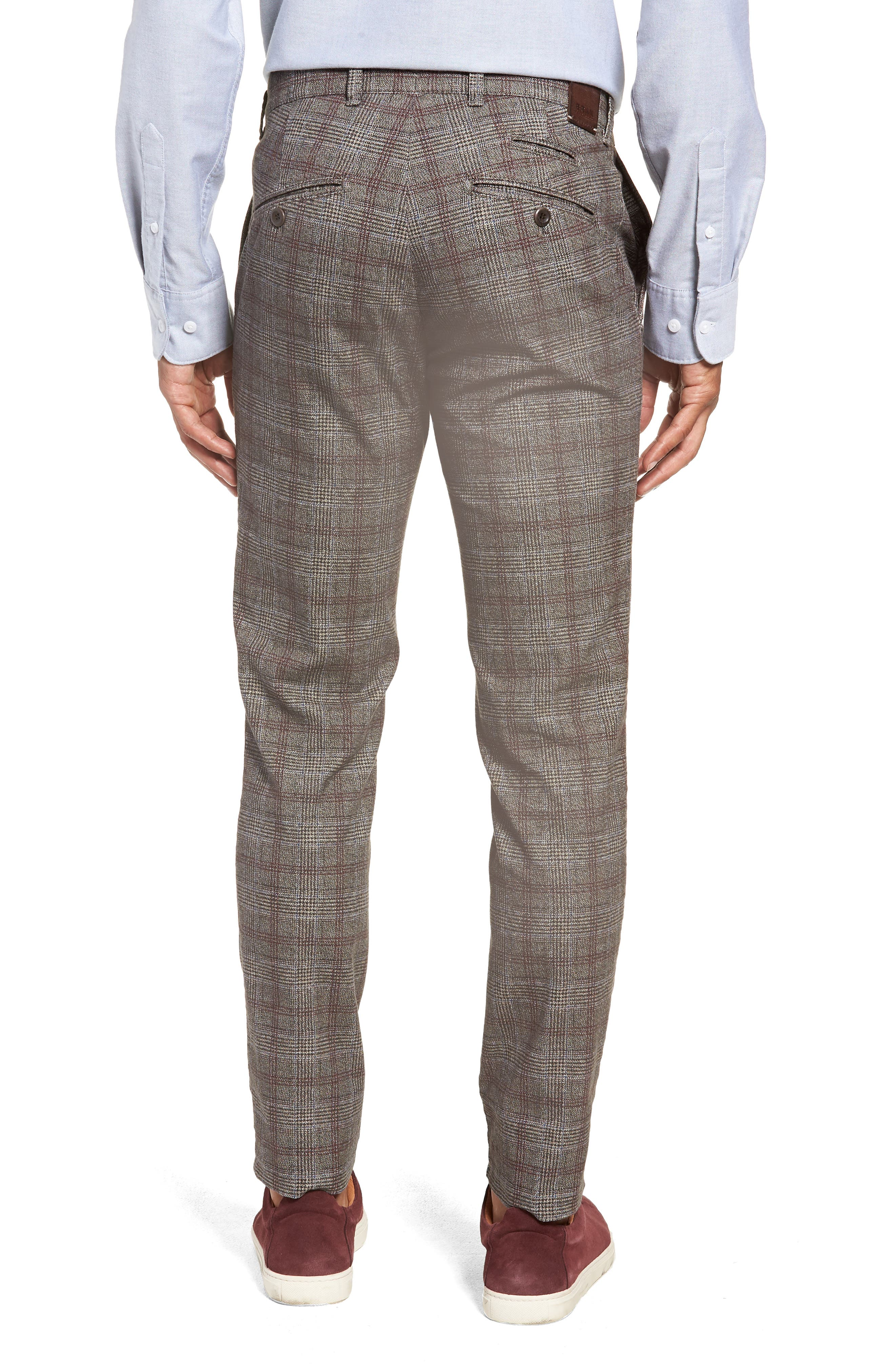 Woolook Slim Fit Check Flat Front Pants,                             Alternate thumbnail 2, color,                             BEIGE