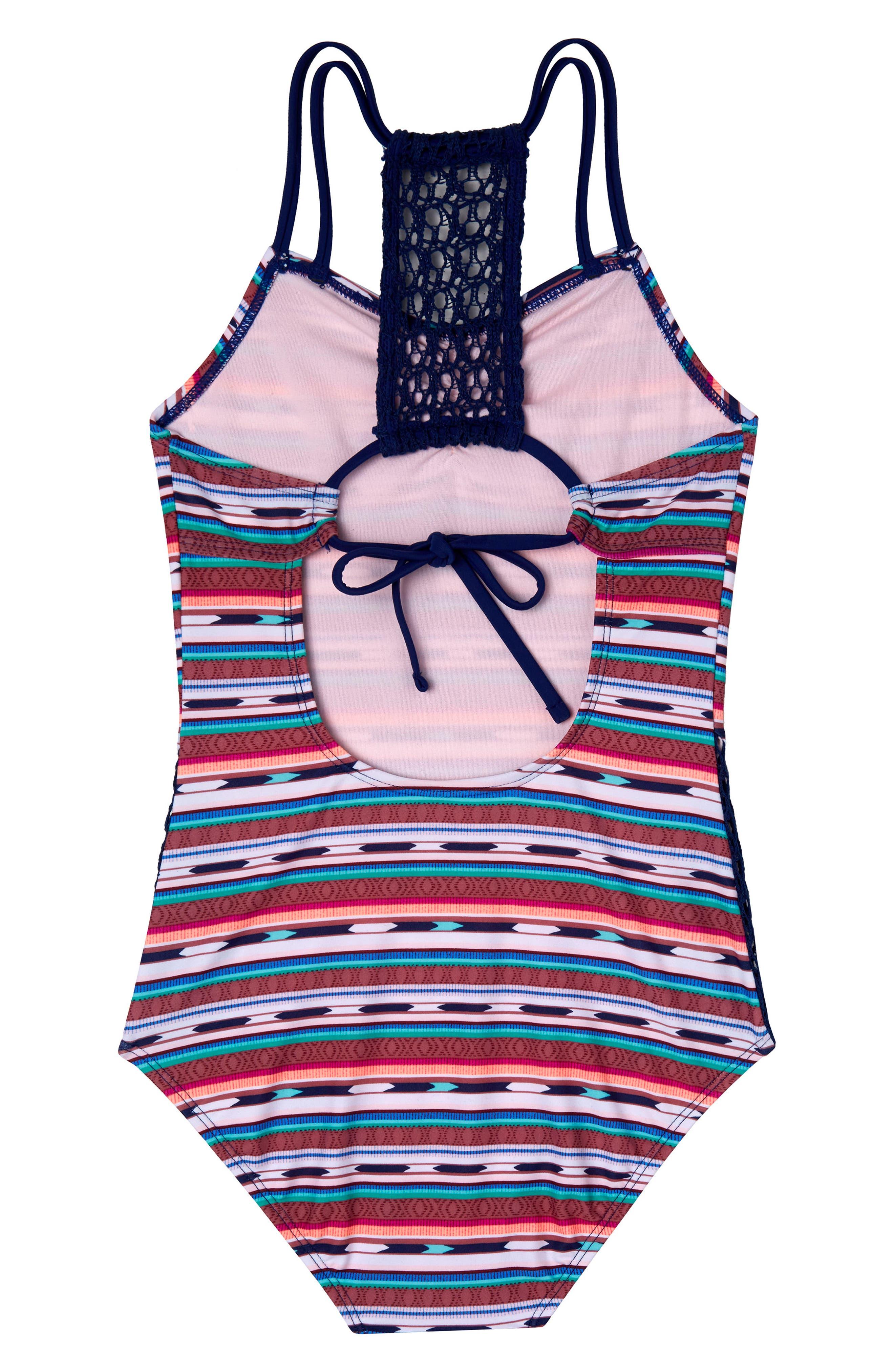 Desert Stripe One-Piece Swimsuit,                             Alternate thumbnail 2, color,                             406