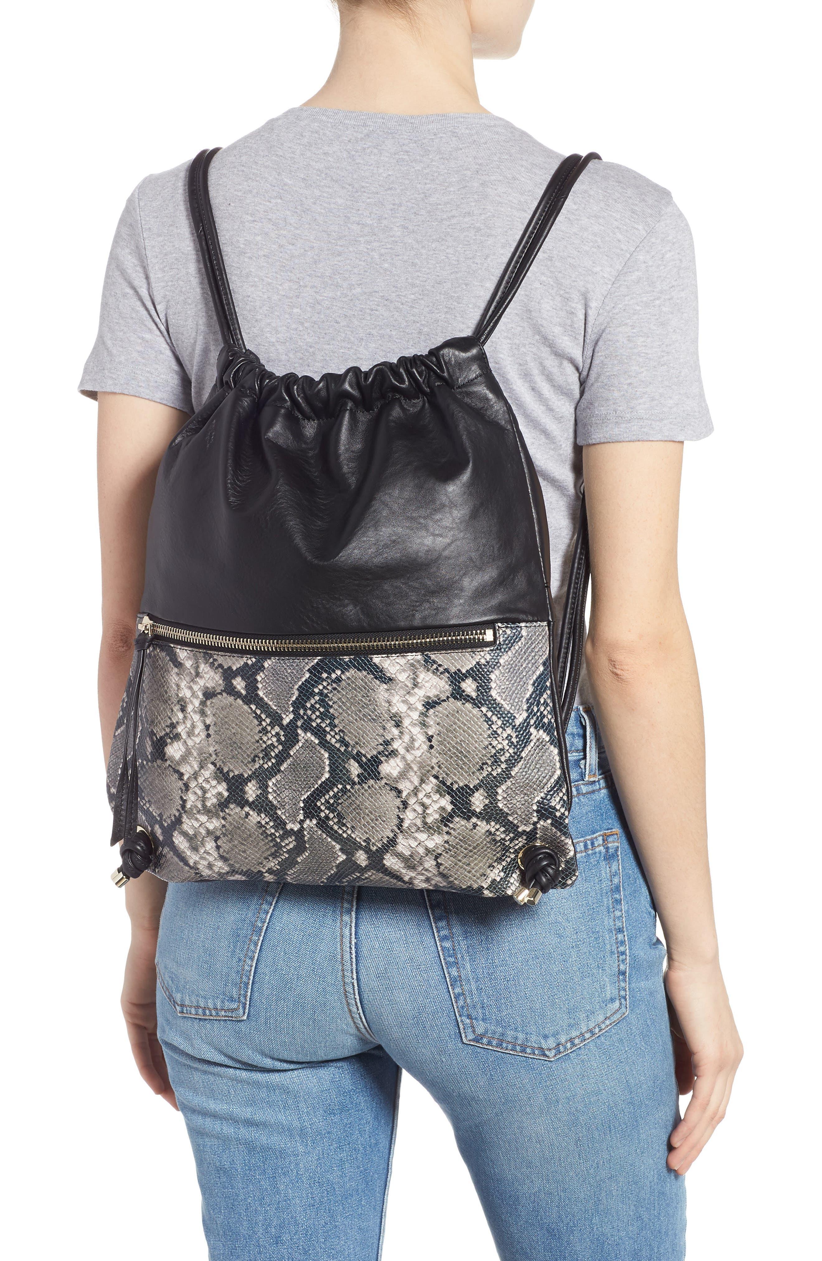 Kira Leather Backpack,                             Alternate thumbnail 2, color,                             BLACK