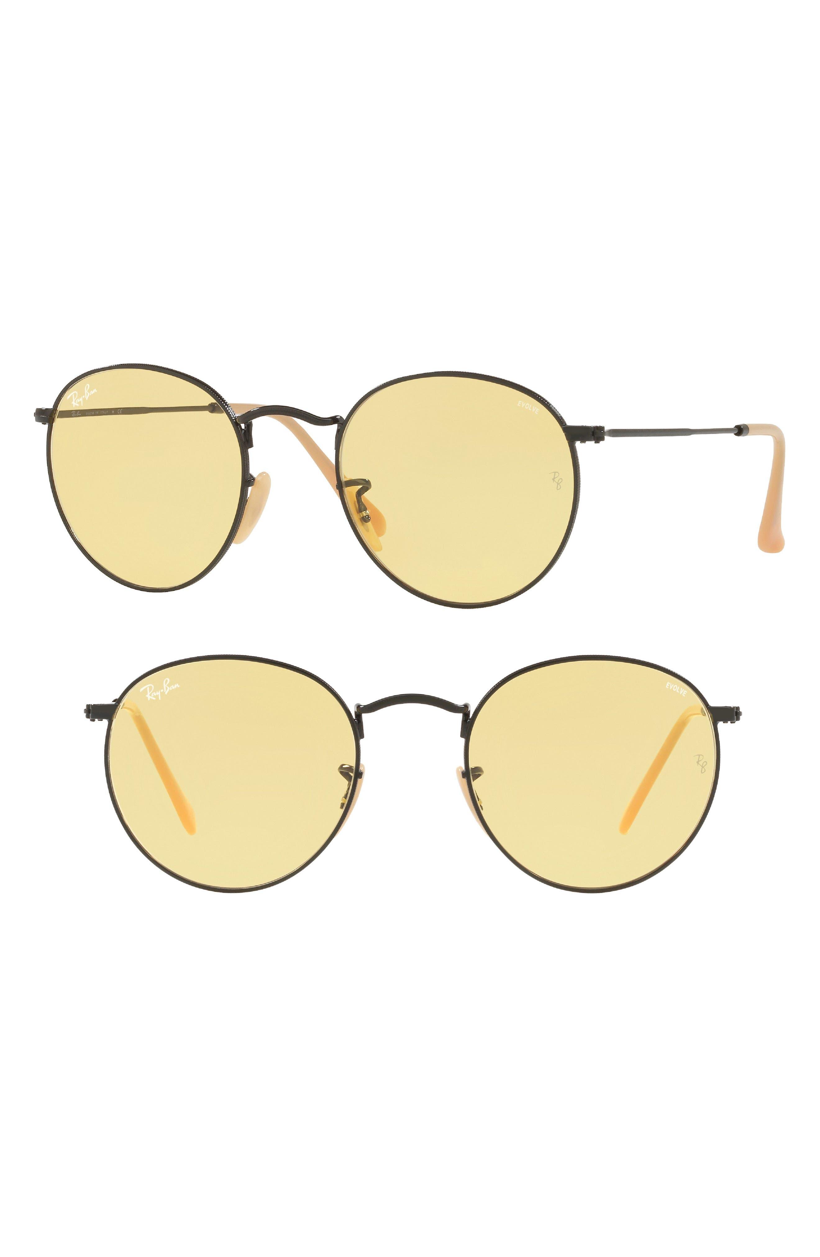 53mm Polarized Round Sunglasses,                         Main,                         color, 016