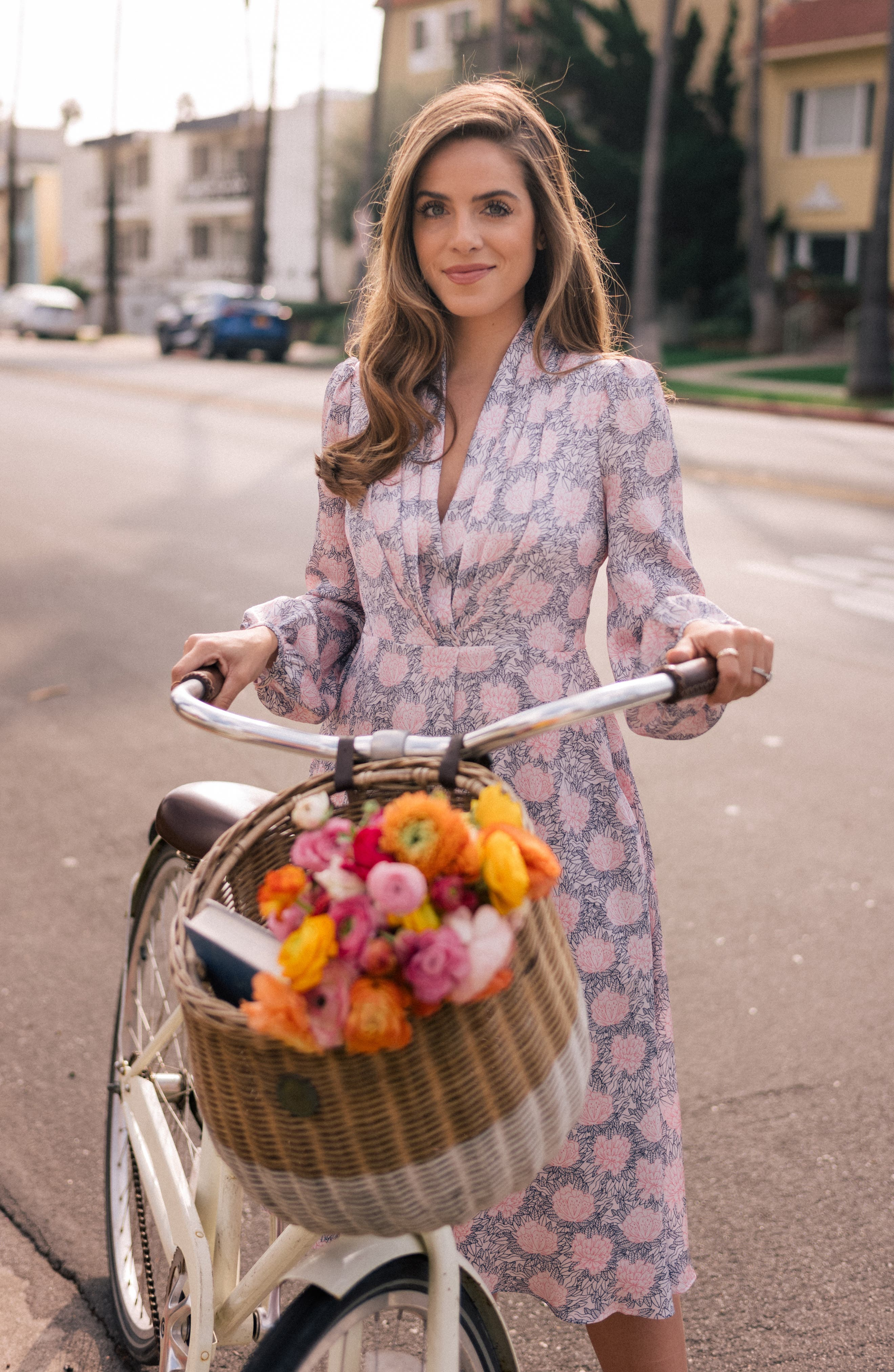 Lizzie Floral Dress,                             Alternate thumbnail 6, color,                             PINK/ UPTOWN PINK