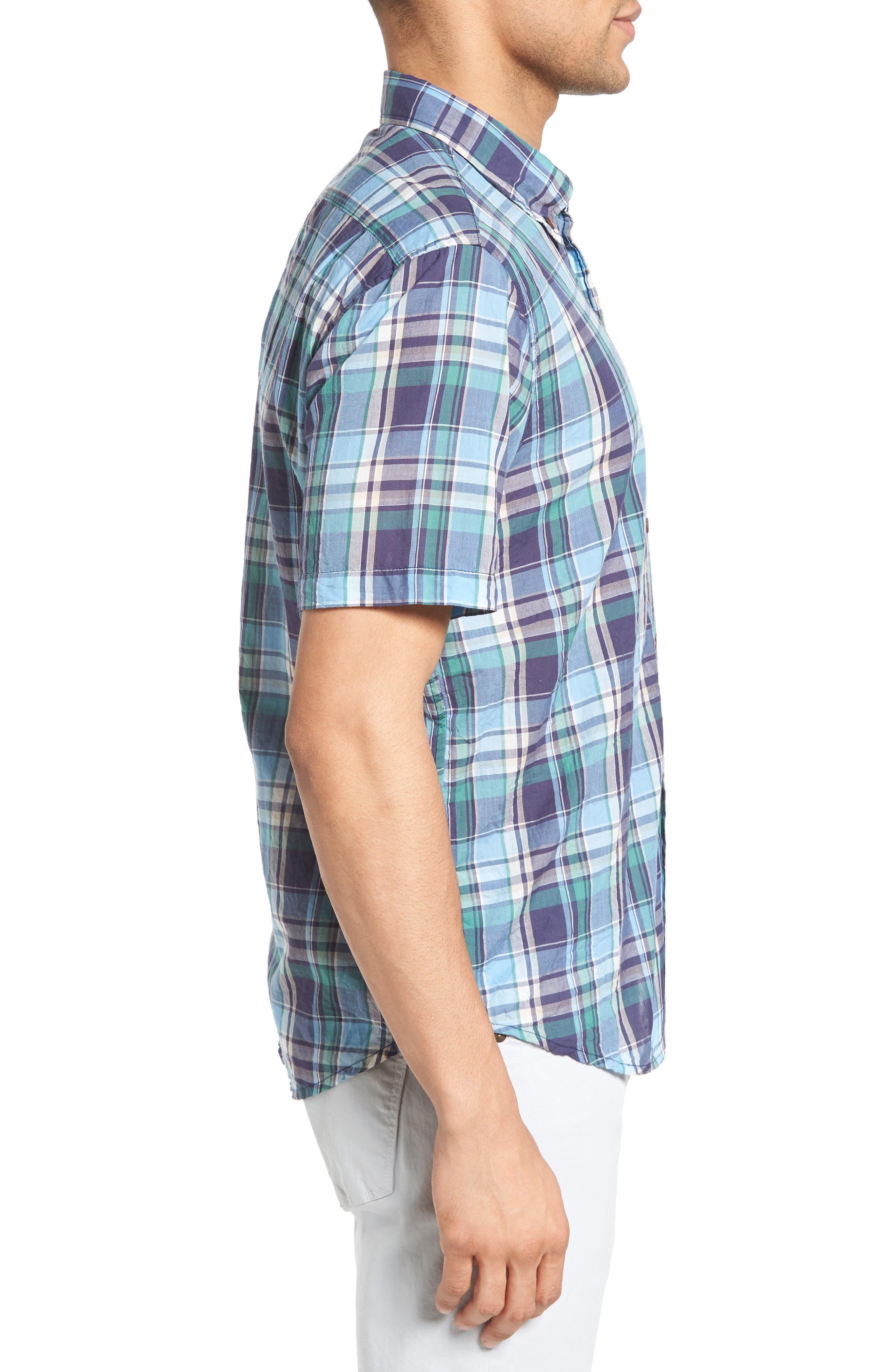 TAILOR VINTAGE,                             Crinkle Plaid Sport Shirt,                             Alternate thumbnail 3, color,                             424