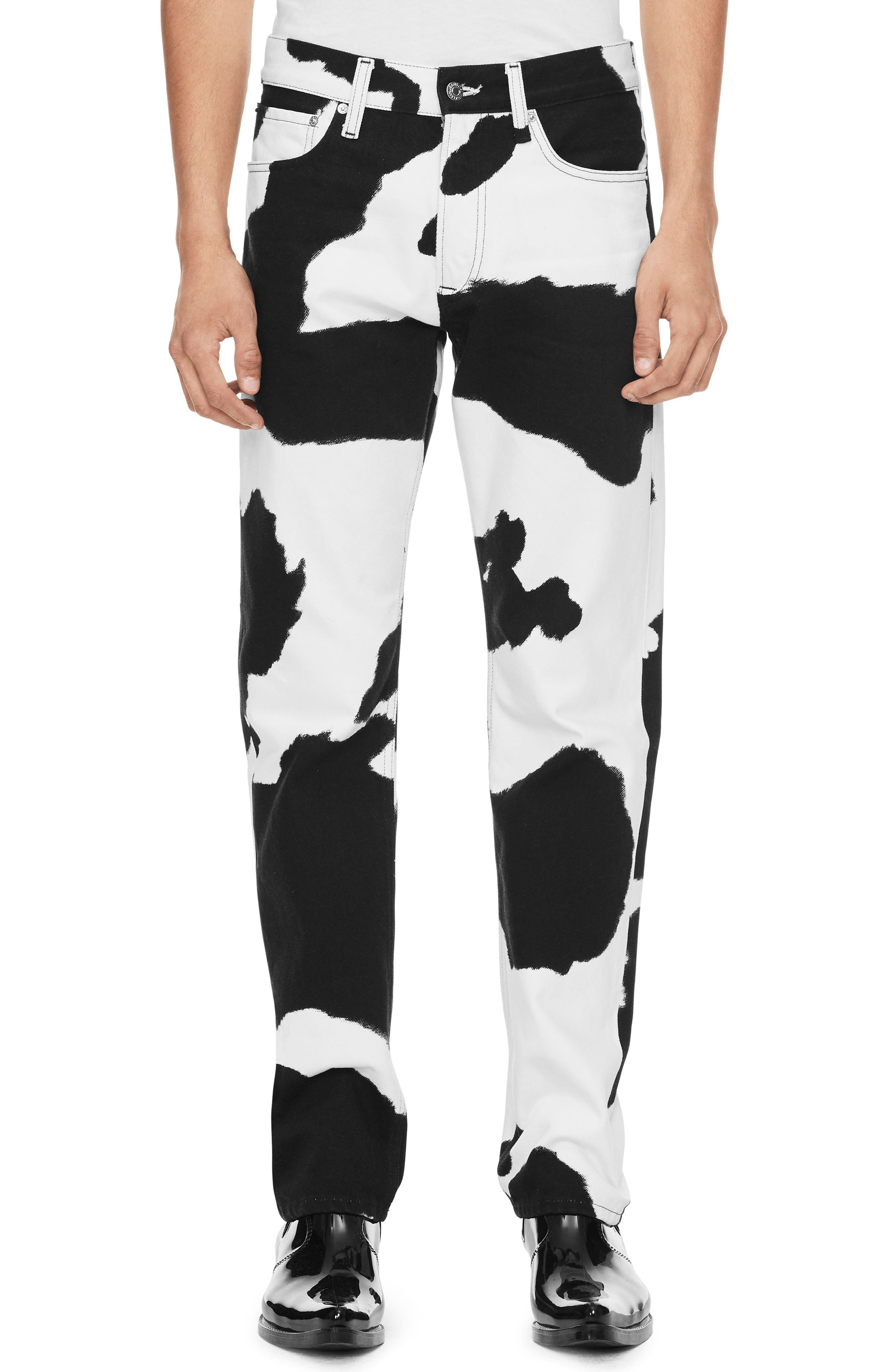 Cow Print Straight Leg Jeans,                             Main thumbnail 1, color,                             COW PRINT