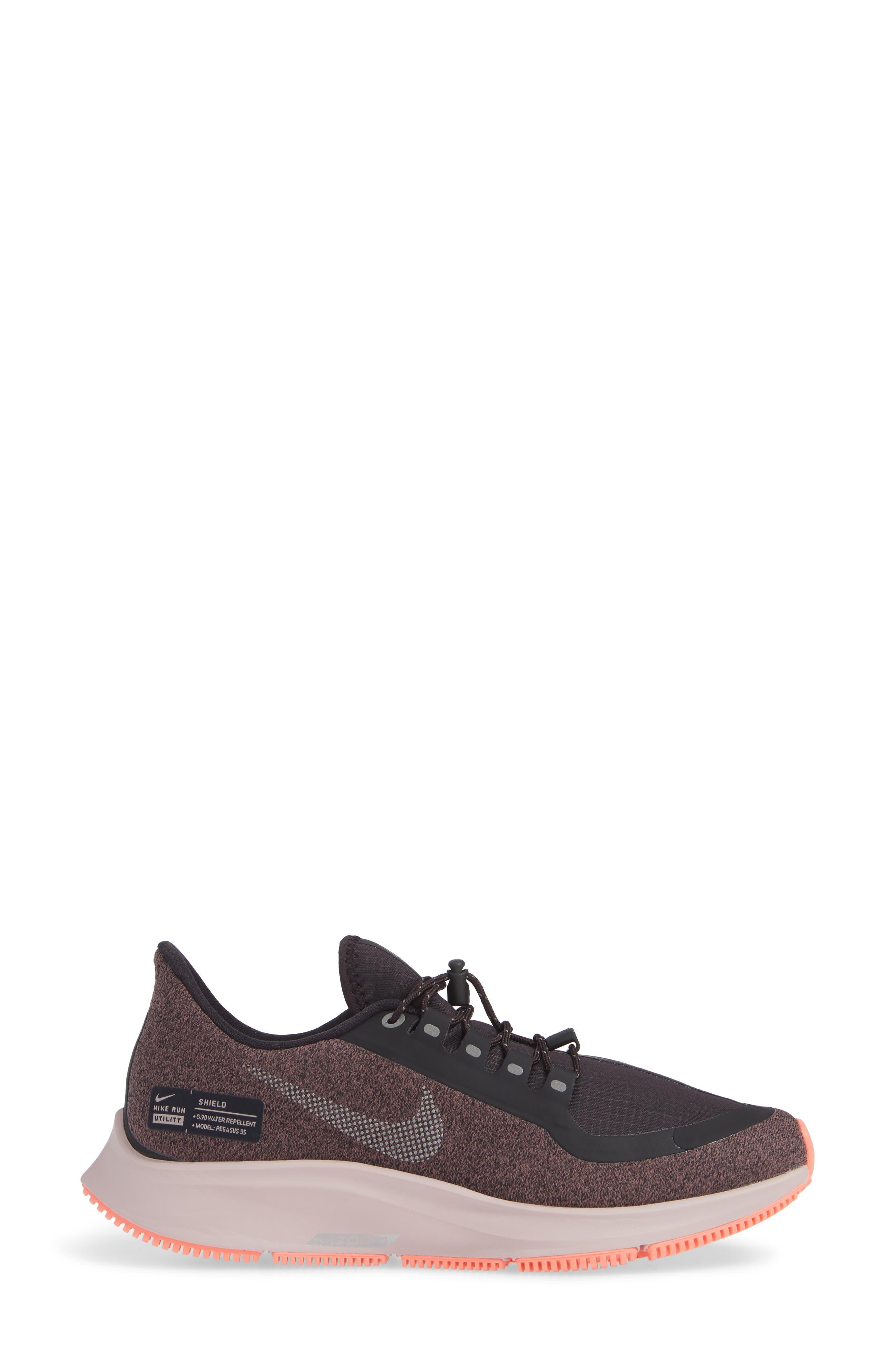 Air Zoom Pegasus 35 Shield GS Water Repellent Running Shoe,                             Alternate thumbnail 3, color,                             GREY/ METALLIC SILVER- MAUVE