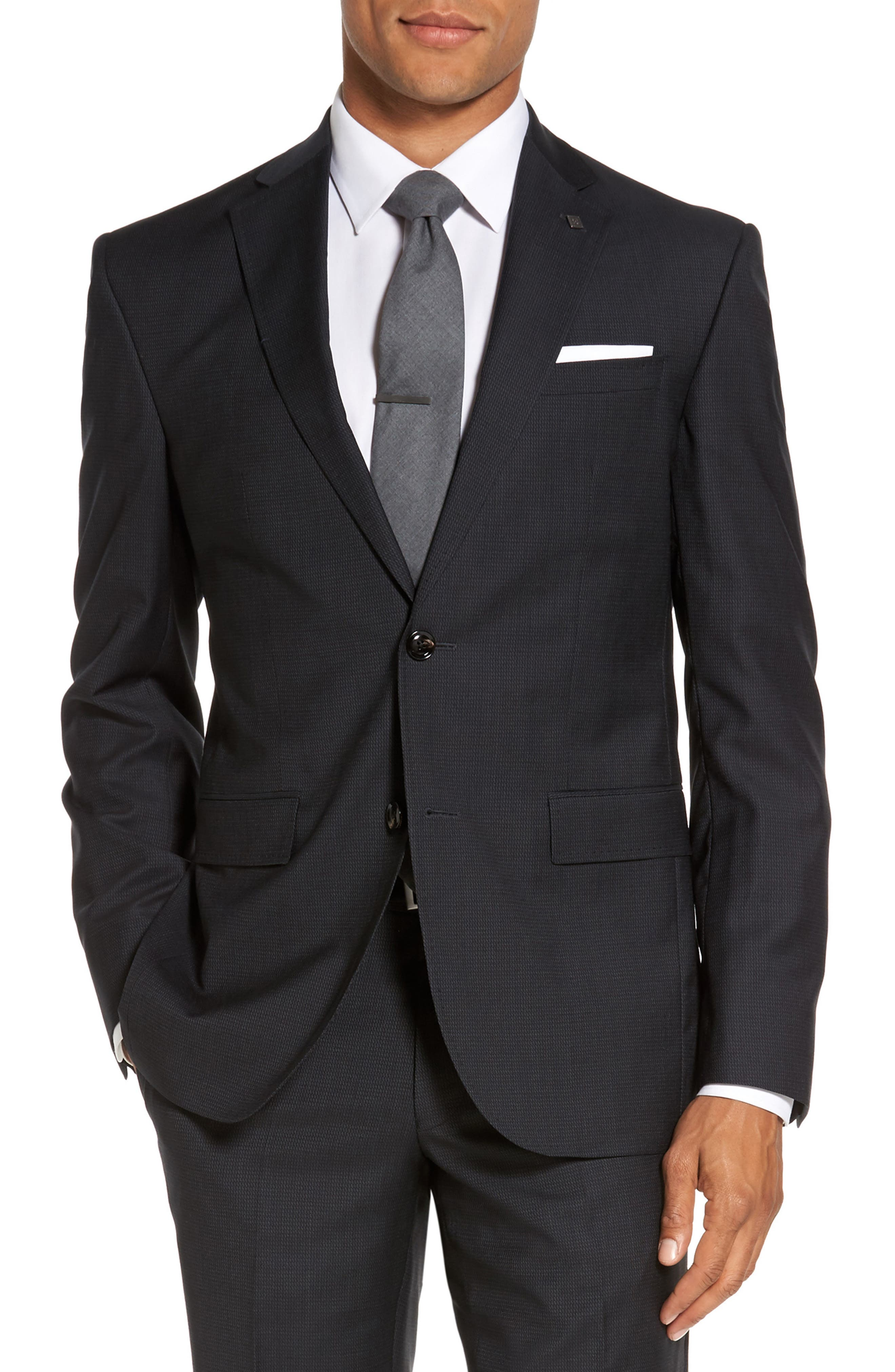 Roger Trim Fit Solid Wool Suit,                             Alternate thumbnail 5, color,                             001