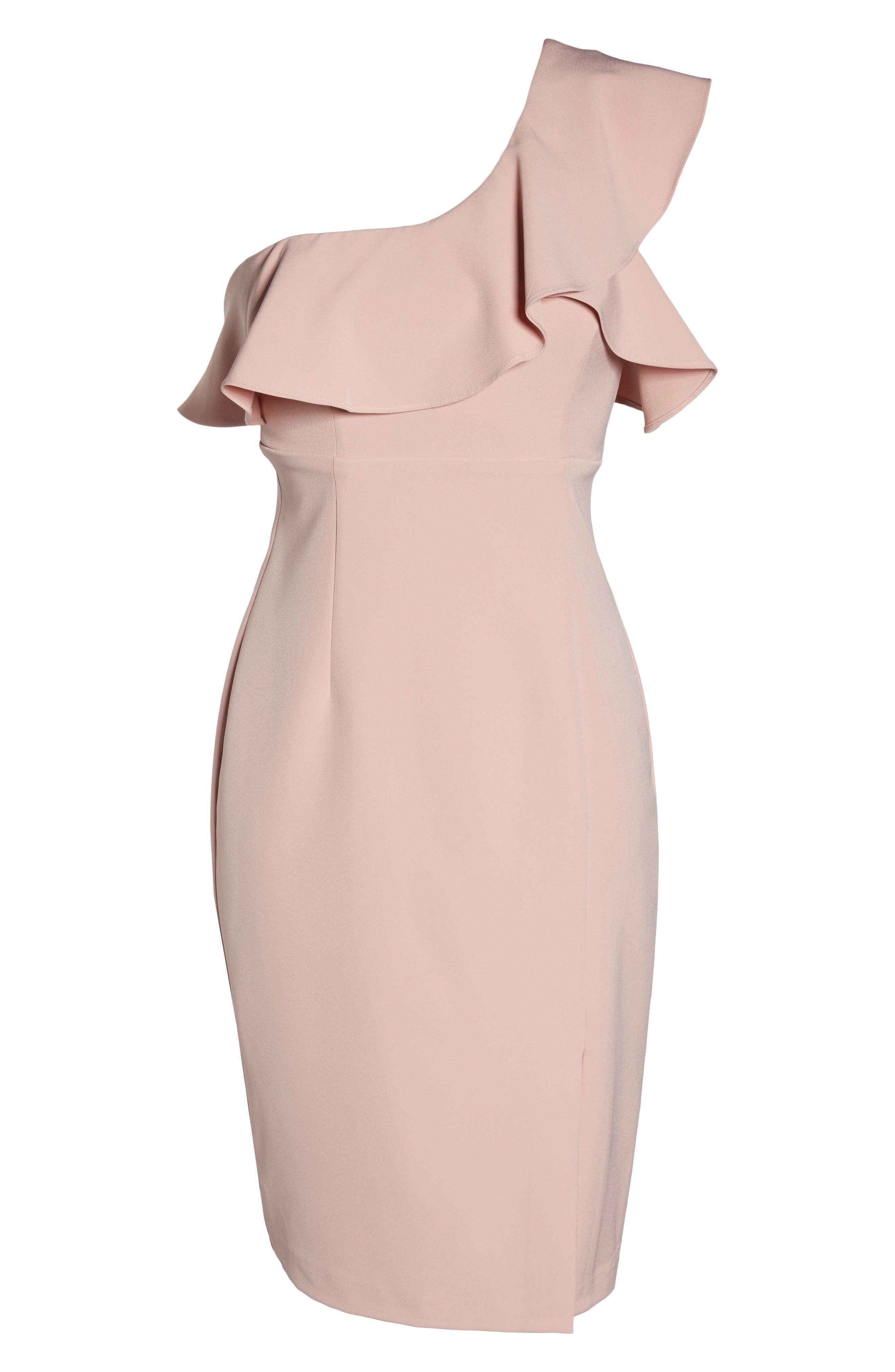 One-Shoulder Ruffle Sheath Dress,                             Alternate thumbnail 12, color,