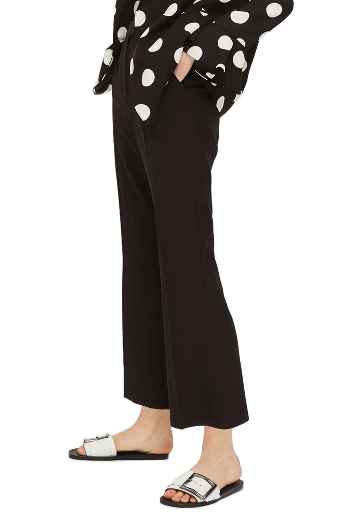 Slim Kick Flare Trousers,                             Alternate thumbnail 3, color,                             BLACK