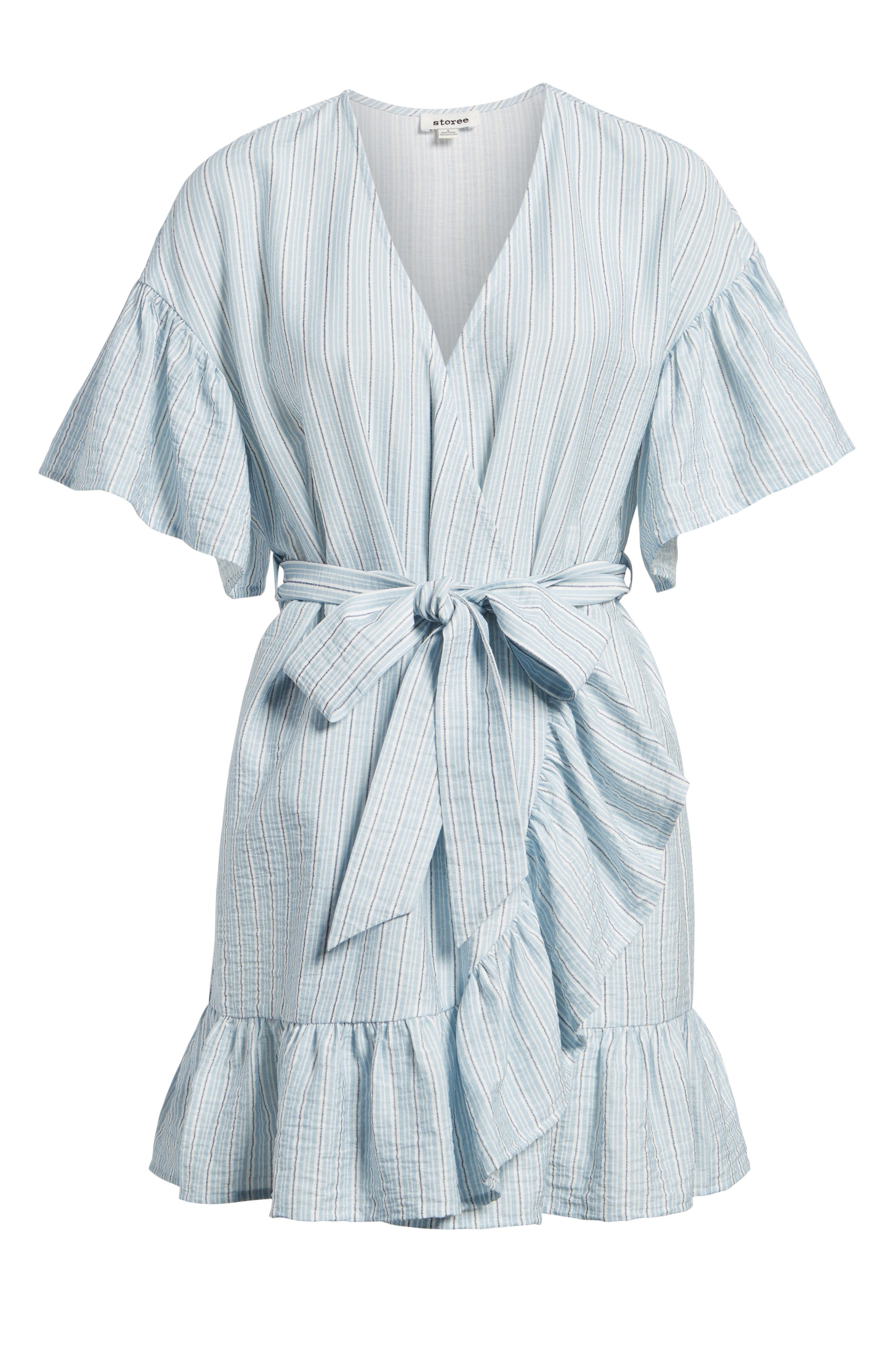 Stripe Ruffle Wrap Dress,                             Alternate thumbnail 6, color,                             400