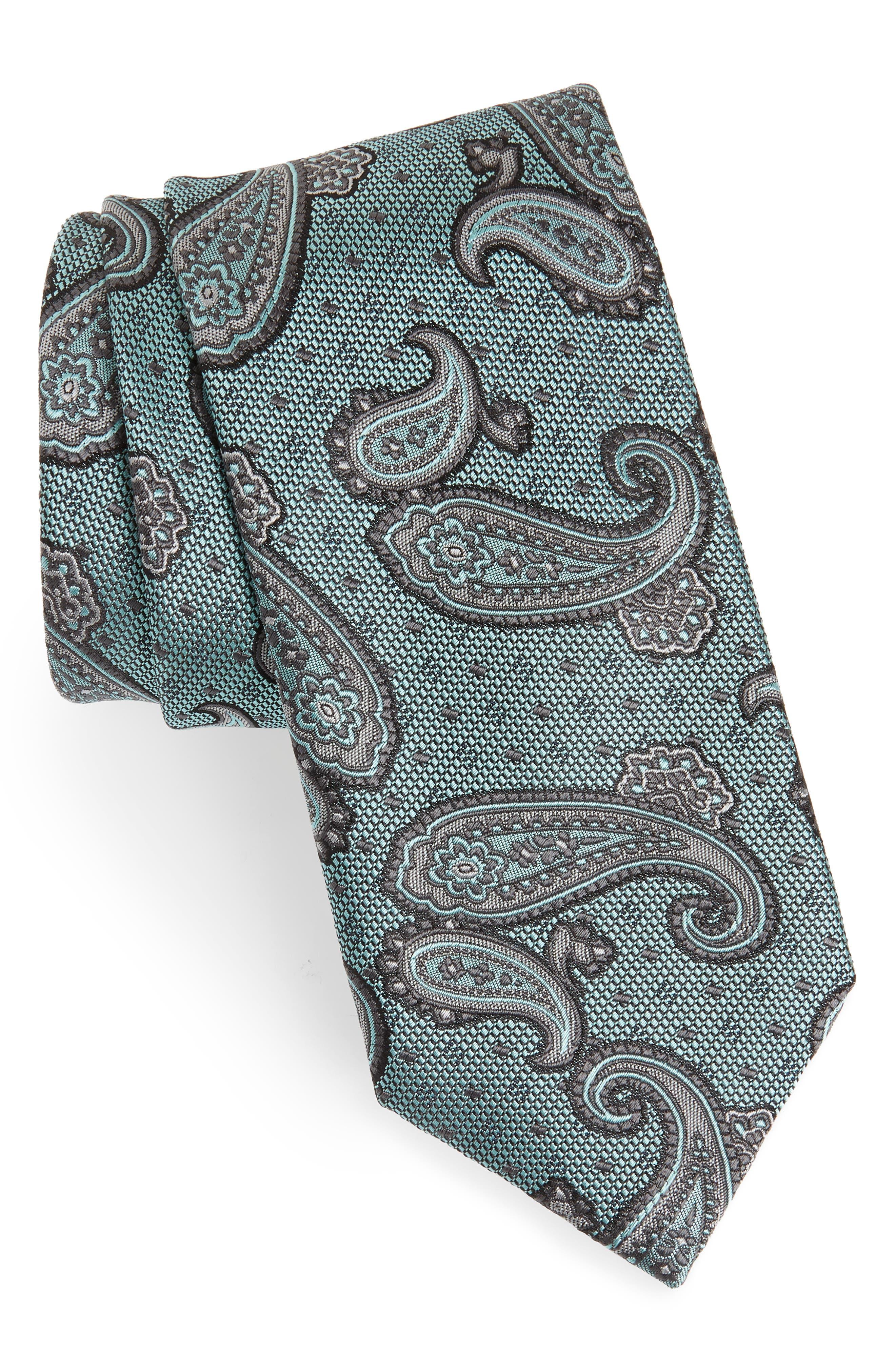 Paisley Silk Tie,                         Main,                         color, BLUE/ GREEN