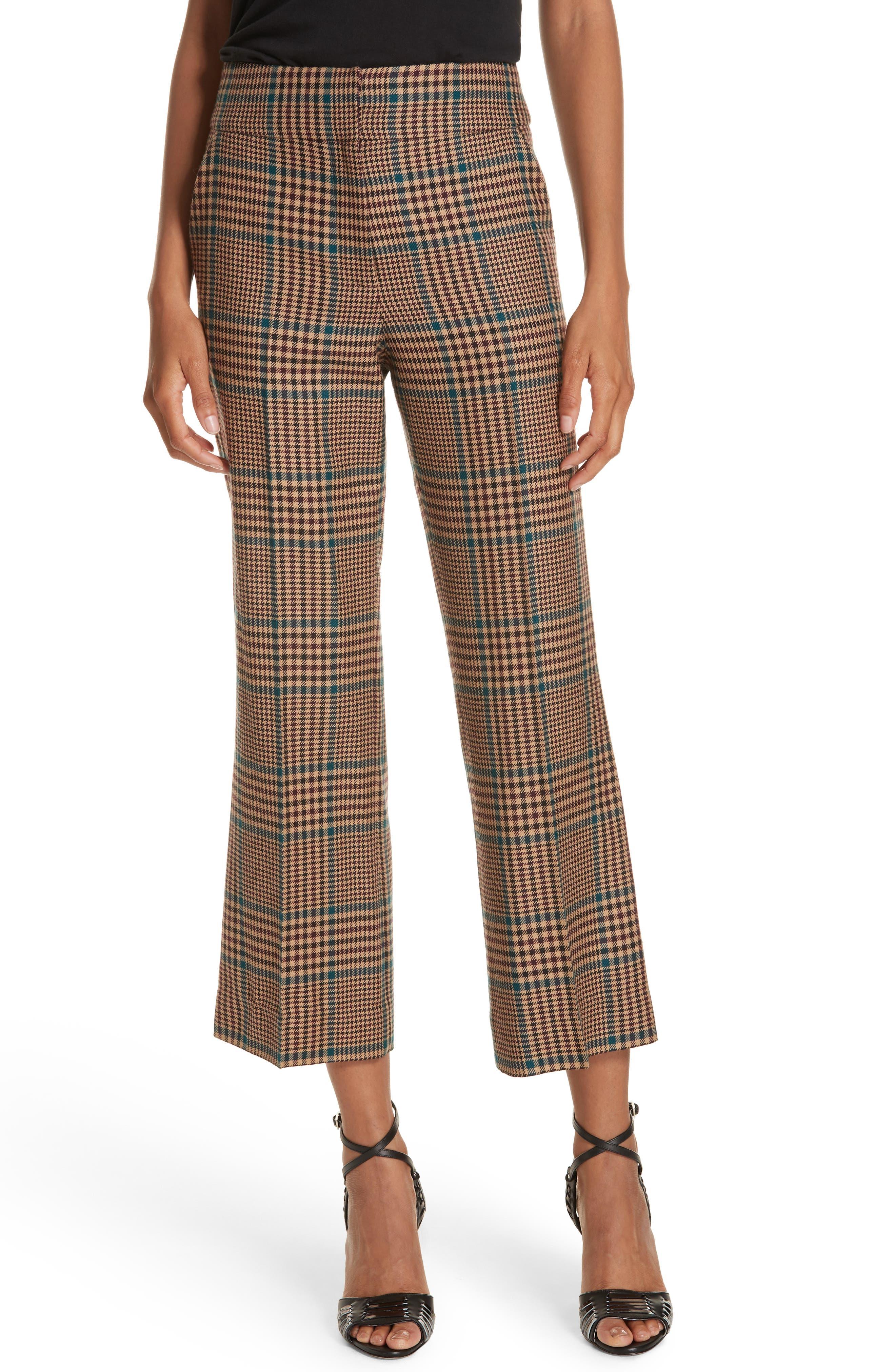 Cormac Plaid Wool Blend Trousers, Main, color, 230
