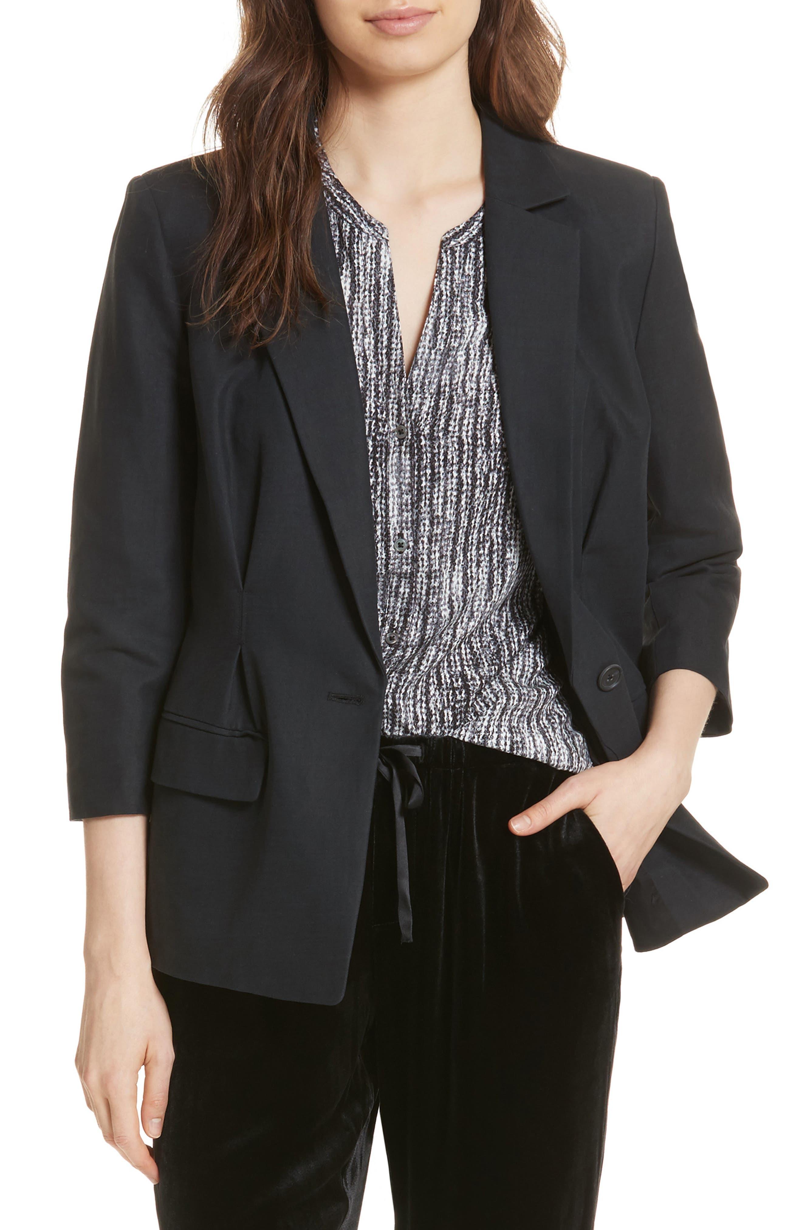 Lian Cotton & Linen Blazer, Main, color, 001
