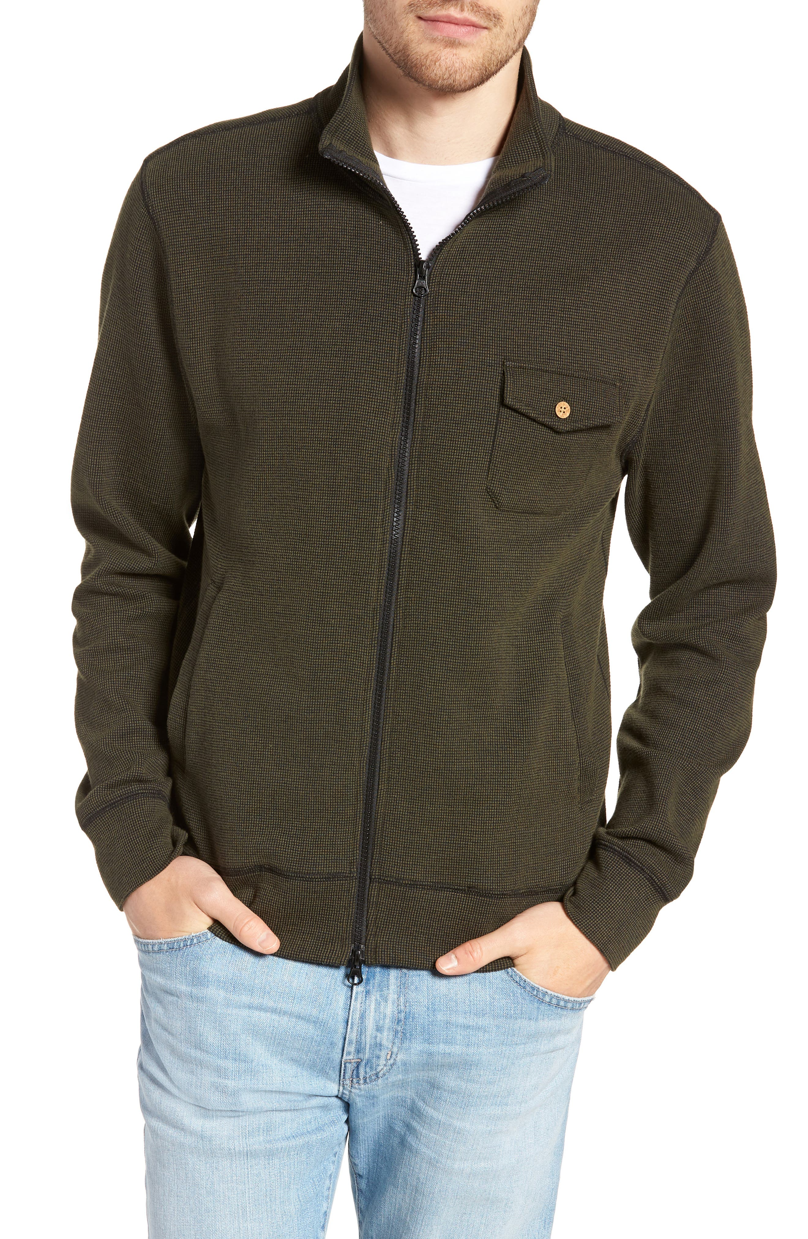 Regular Fit Cotton Cardigan,                             Main thumbnail 1, color,                             DARK OLIVE