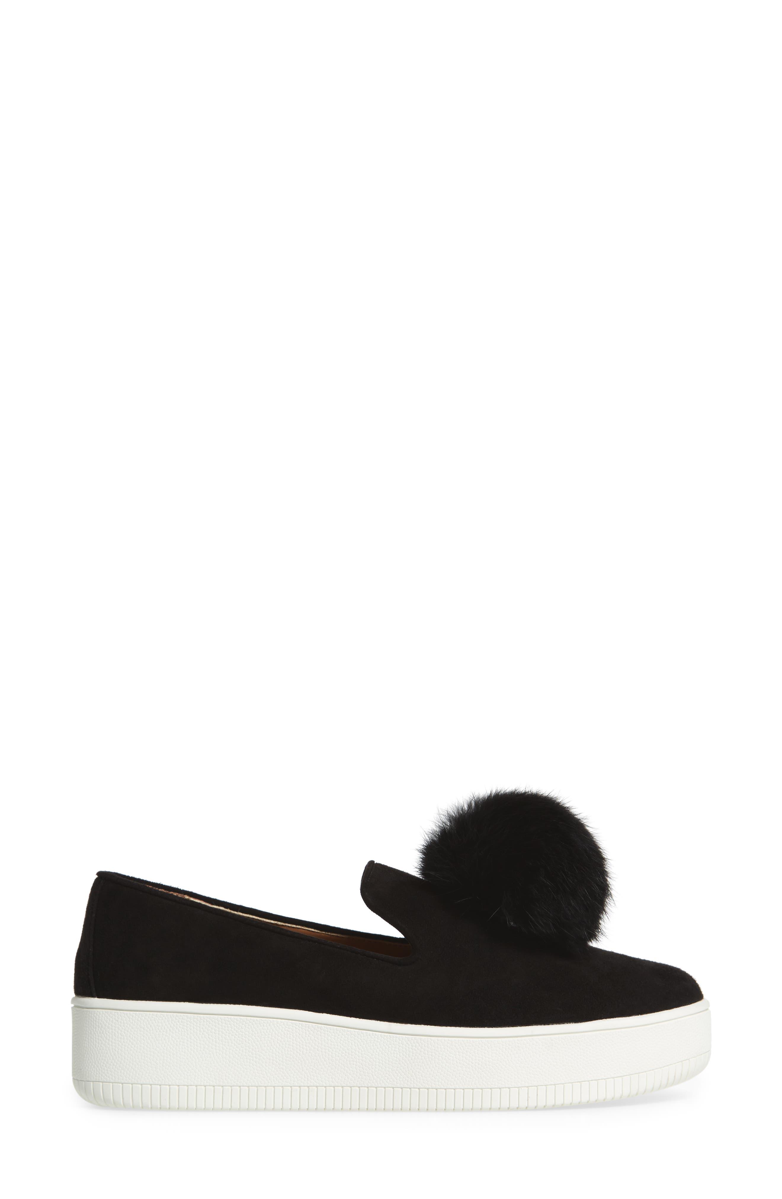Sammy Platform Sneaker with Genuine Rabbit Fur Pompom,                             Alternate thumbnail 3, color,                             002