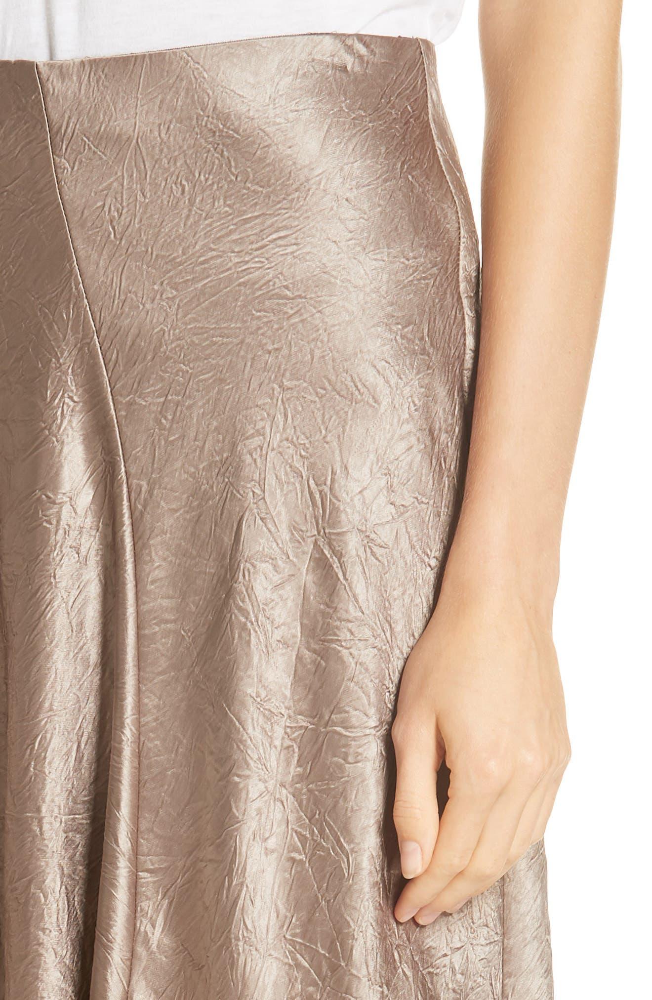Asymmetrical Crinkled Satin Skirt,                             Alternate thumbnail 4, color,                             TAUPE