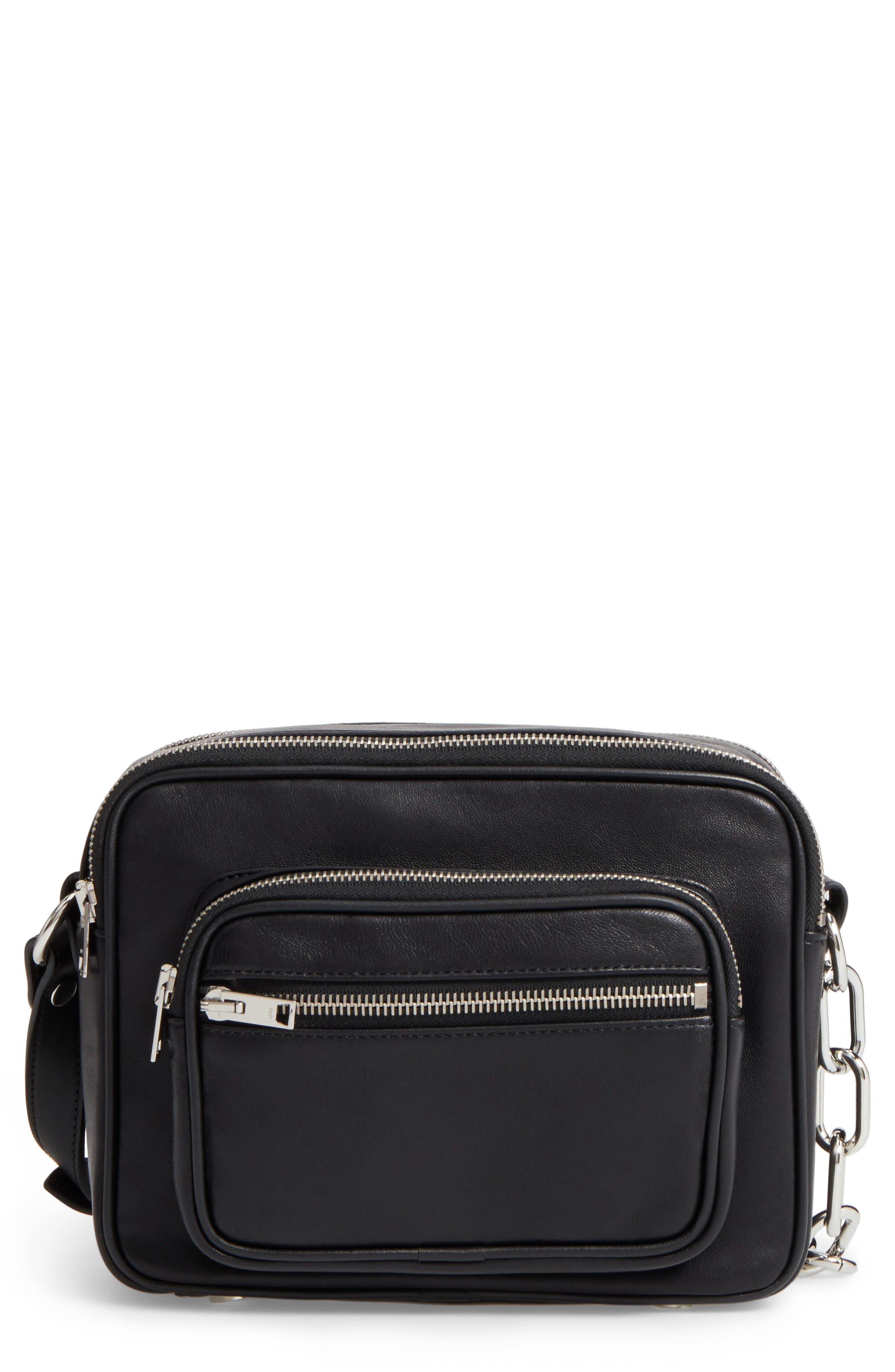 Washed Leather Crossbody Bag,                         Main,                         color, BLACK