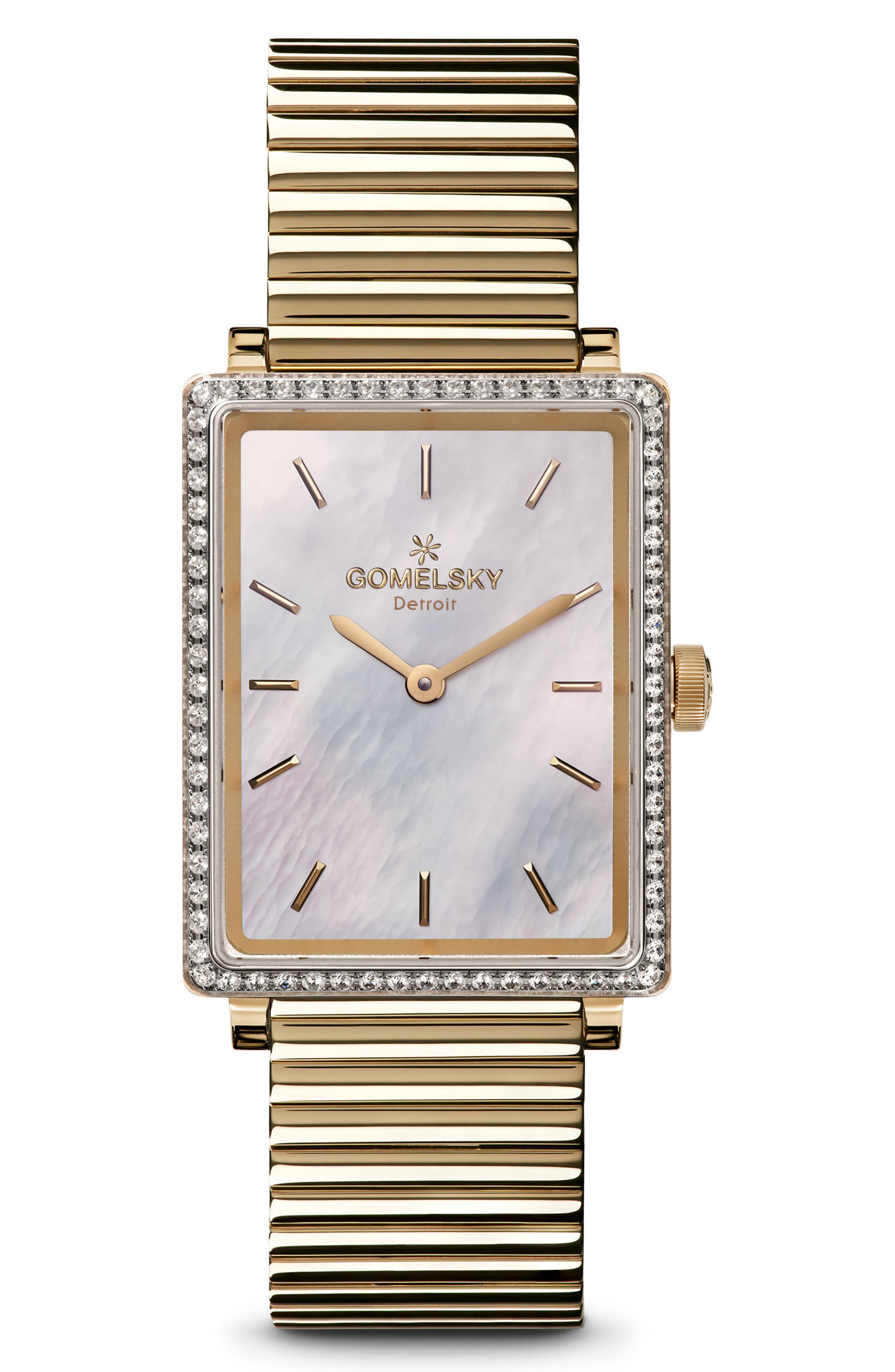 The Shirley Fromer Diamond Bracelet Watch, 32mm x 25mm,                             Main thumbnail 1, color,                             GOLD/ MOP/ GOLD