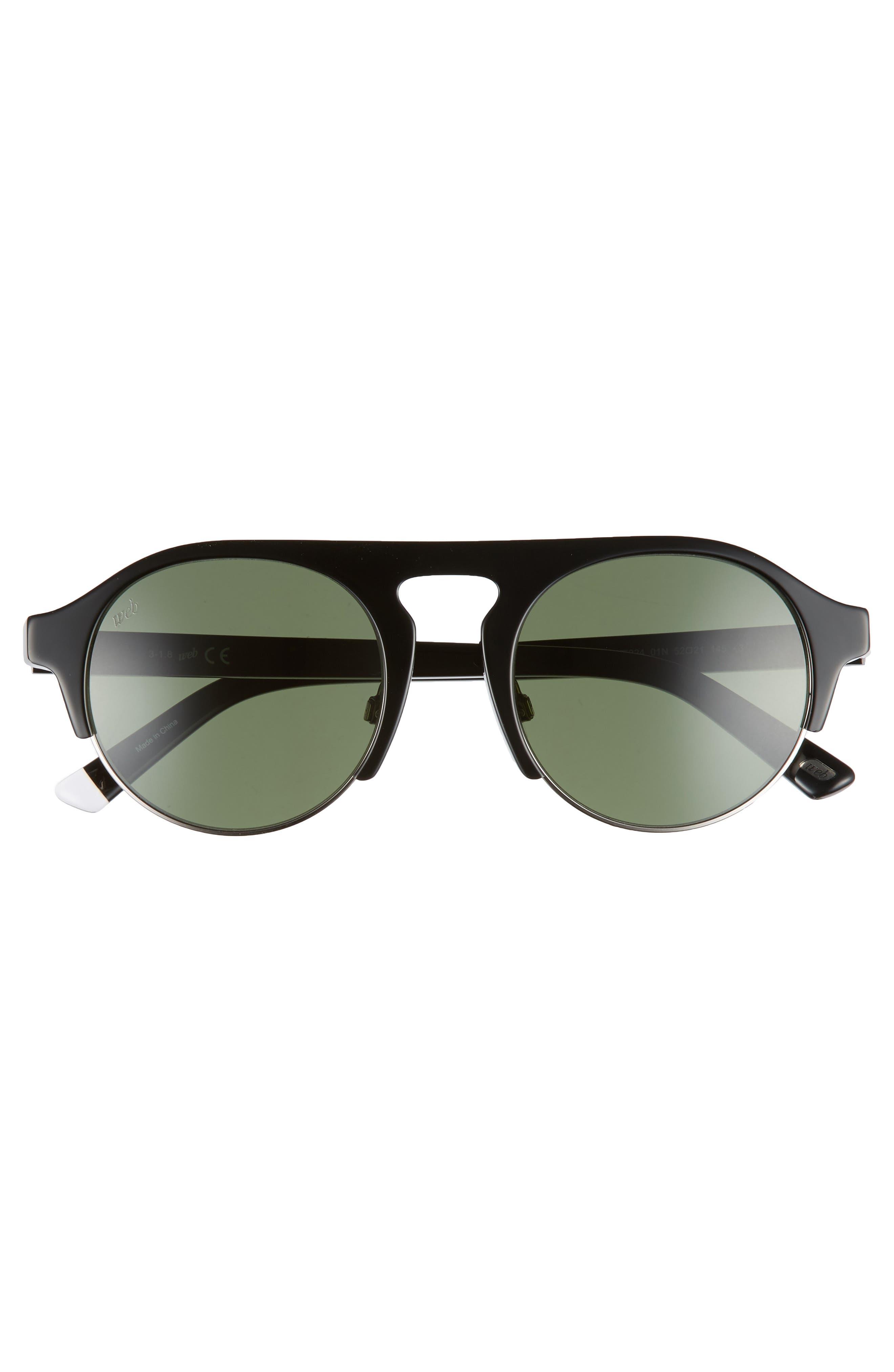 52mm Sunglasses,                             Alternate thumbnail 3, color,                             SHINY BLACK/ GREEN
