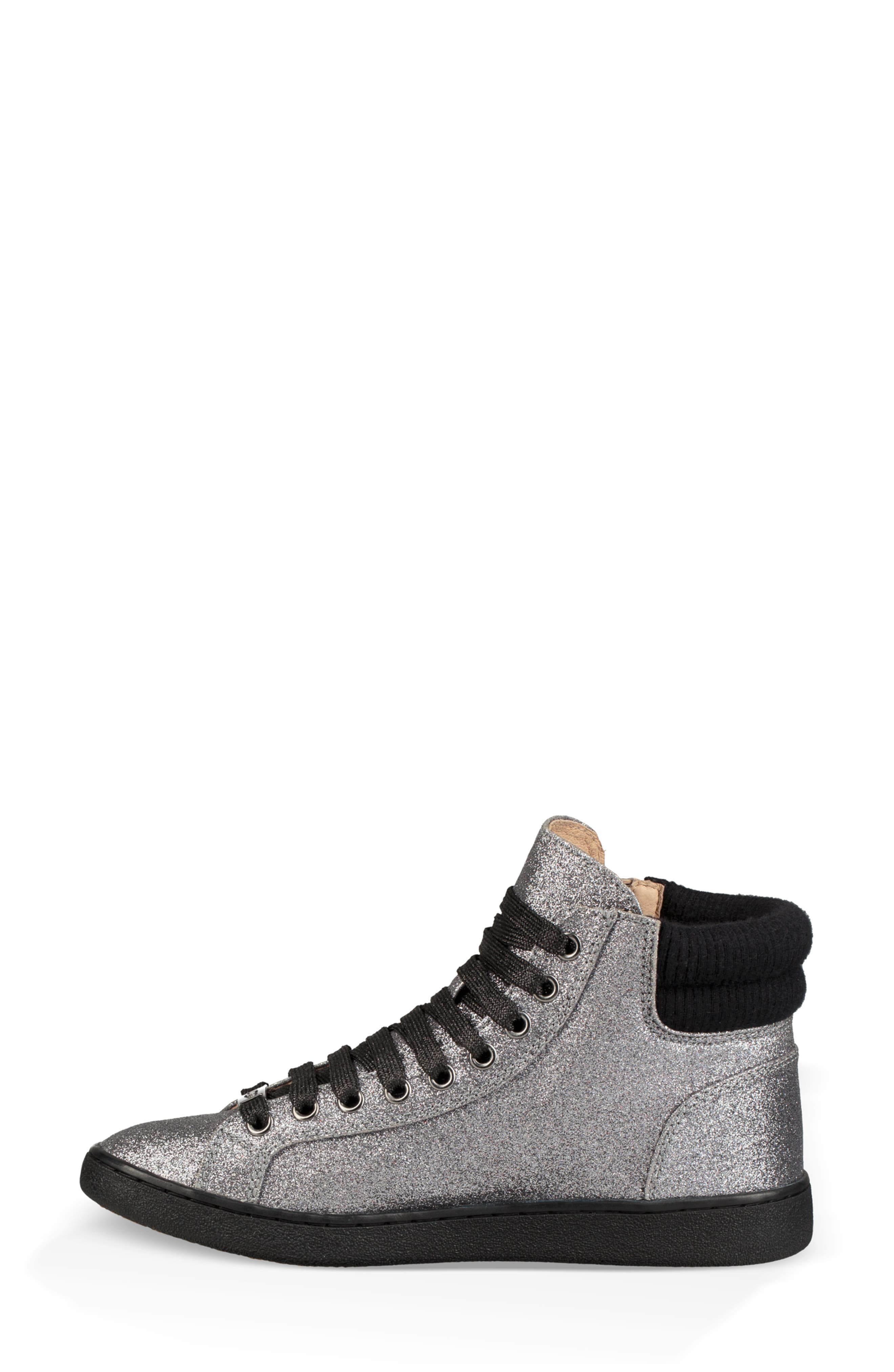 Olive Glitter Sneaker,                             Alternate thumbnail 6, color,                             GUNMETAL FABRIC