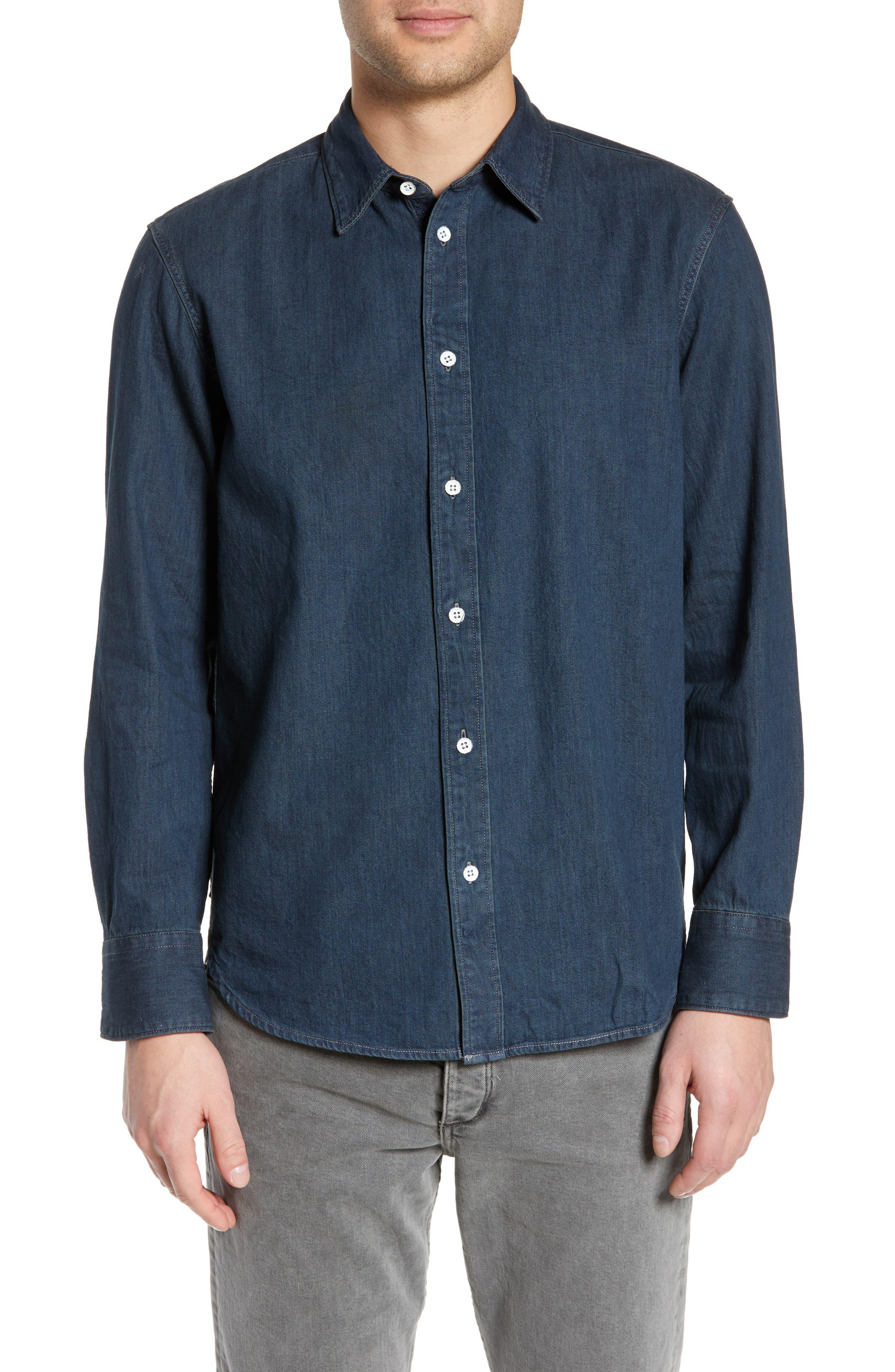 RAG & BONE Fit 3 Denim Sport Shirt, Main, color, STONE BLUE