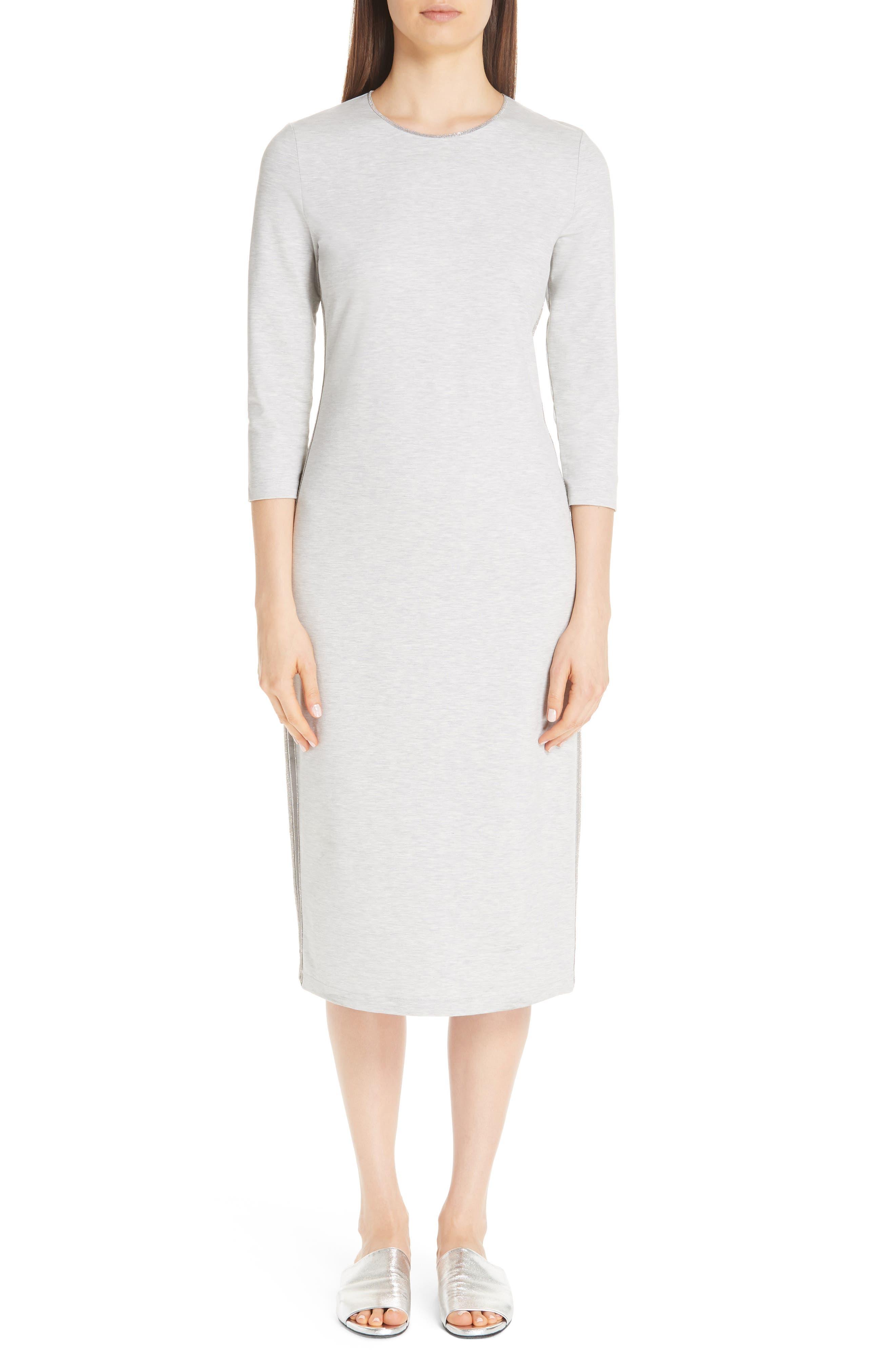 Fabiana Filippi Side Stripe Jersey Dress, US / 40 IT - Grey