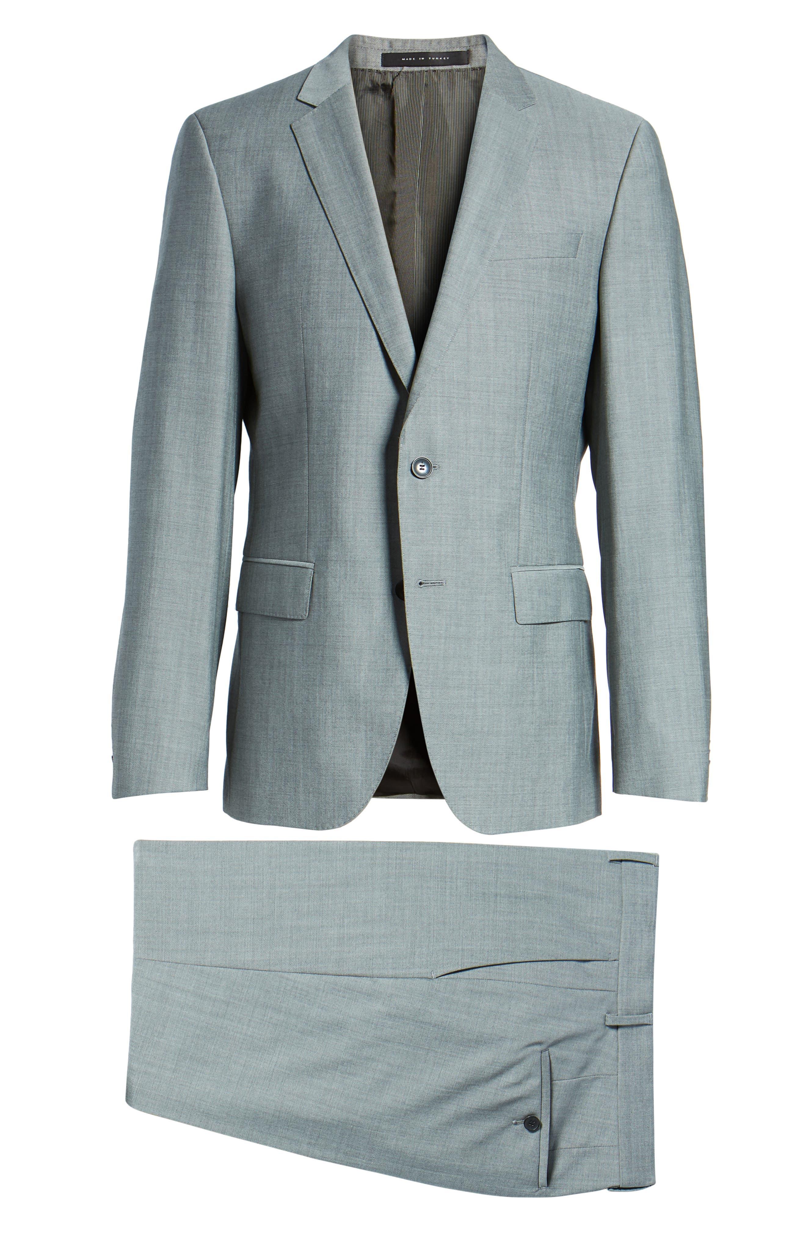 'Huge/Genius' Trim Fit Solid Wool Suit,                             Alternate thumbnail 8, color,                             PEARL GREY