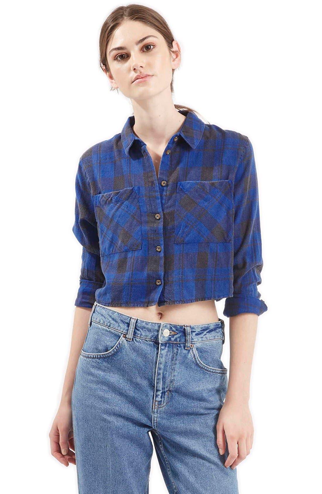 'Chloe' Crop Plaid Shirt, Main, color, 400