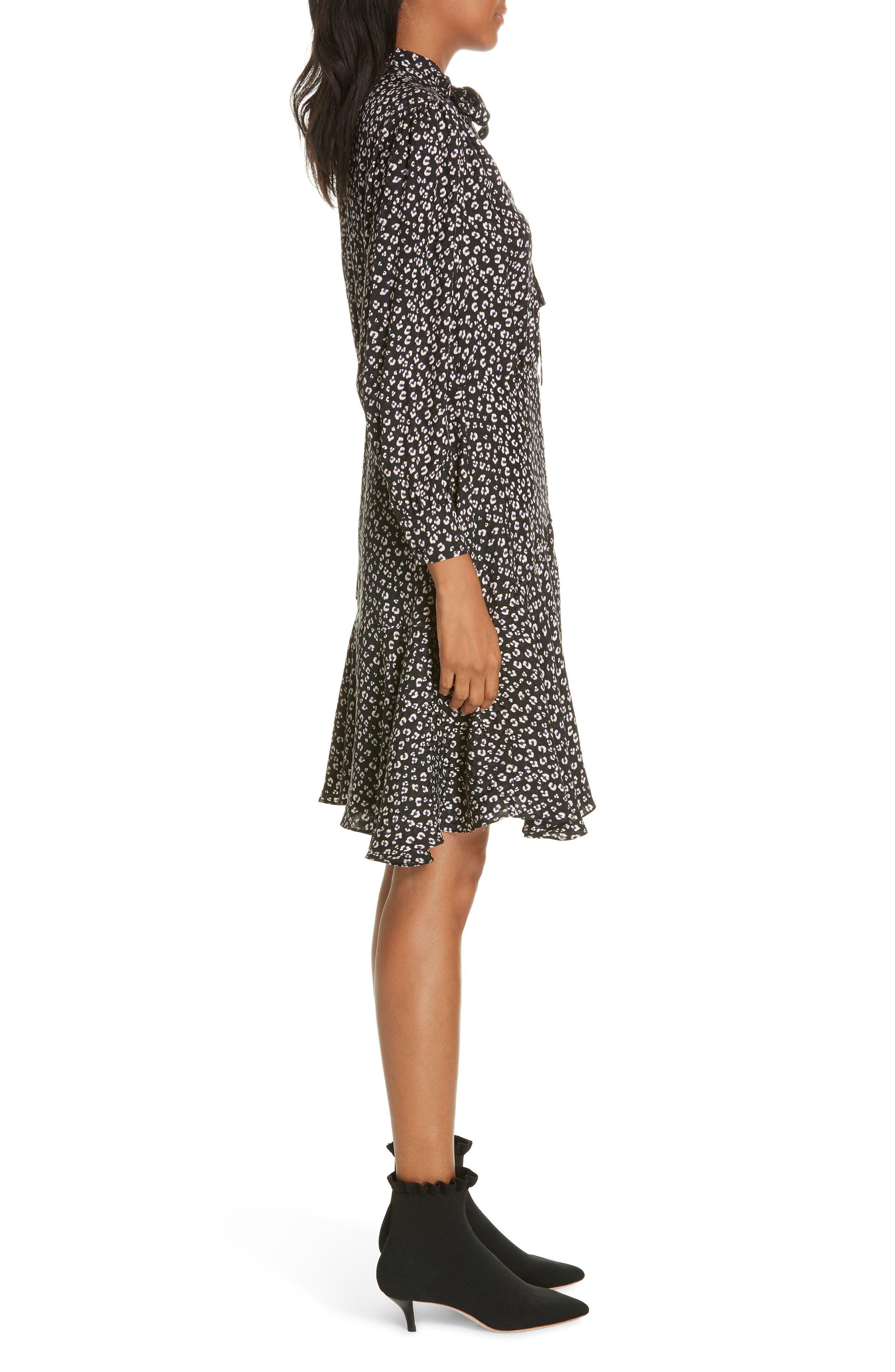 Cheetah Print Silk Dress,                             Alternate thumbnail 3, color,                             BLACK COMBO